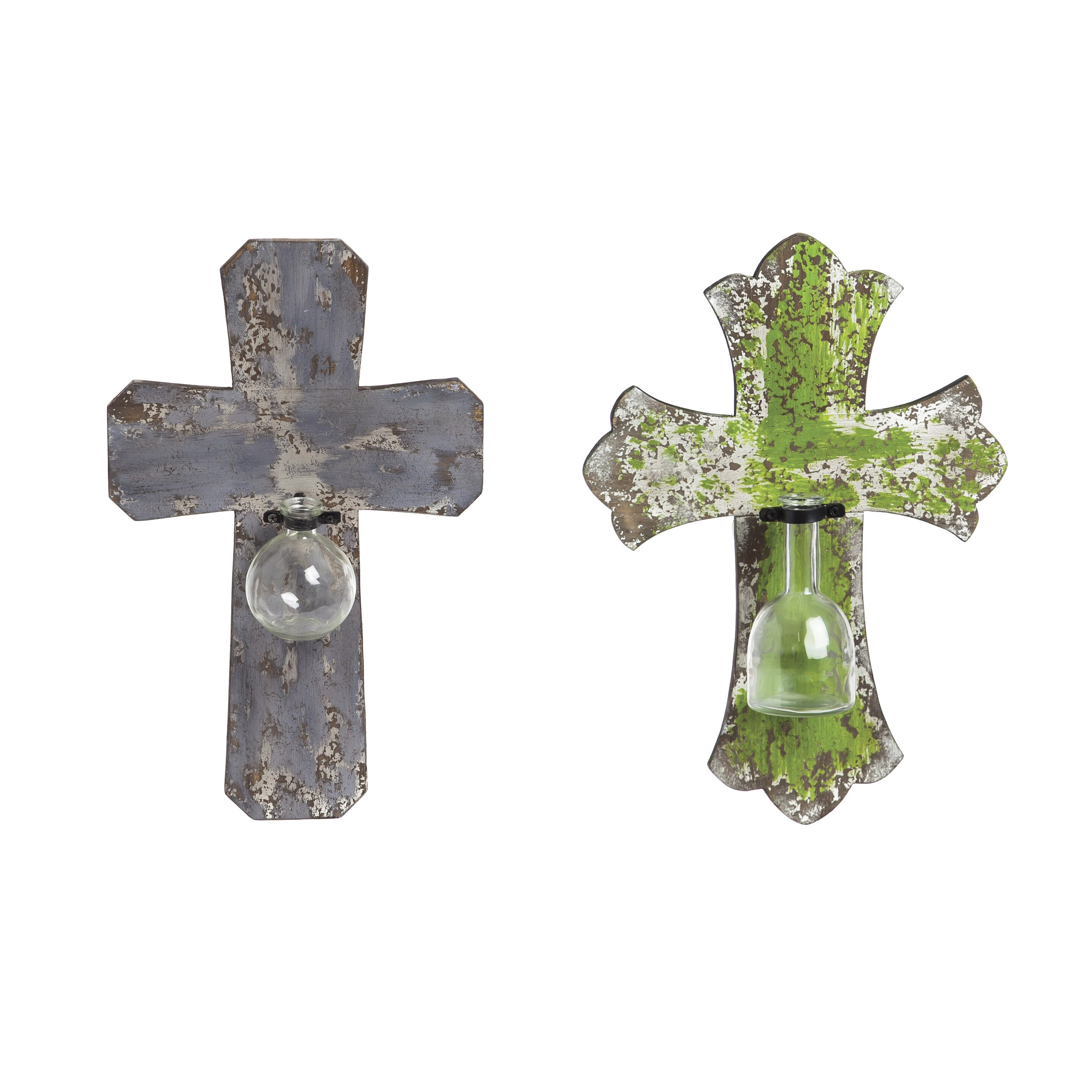 Piece Wooden Wall Crosses With Decorative Glass Vases Wall Decor Set