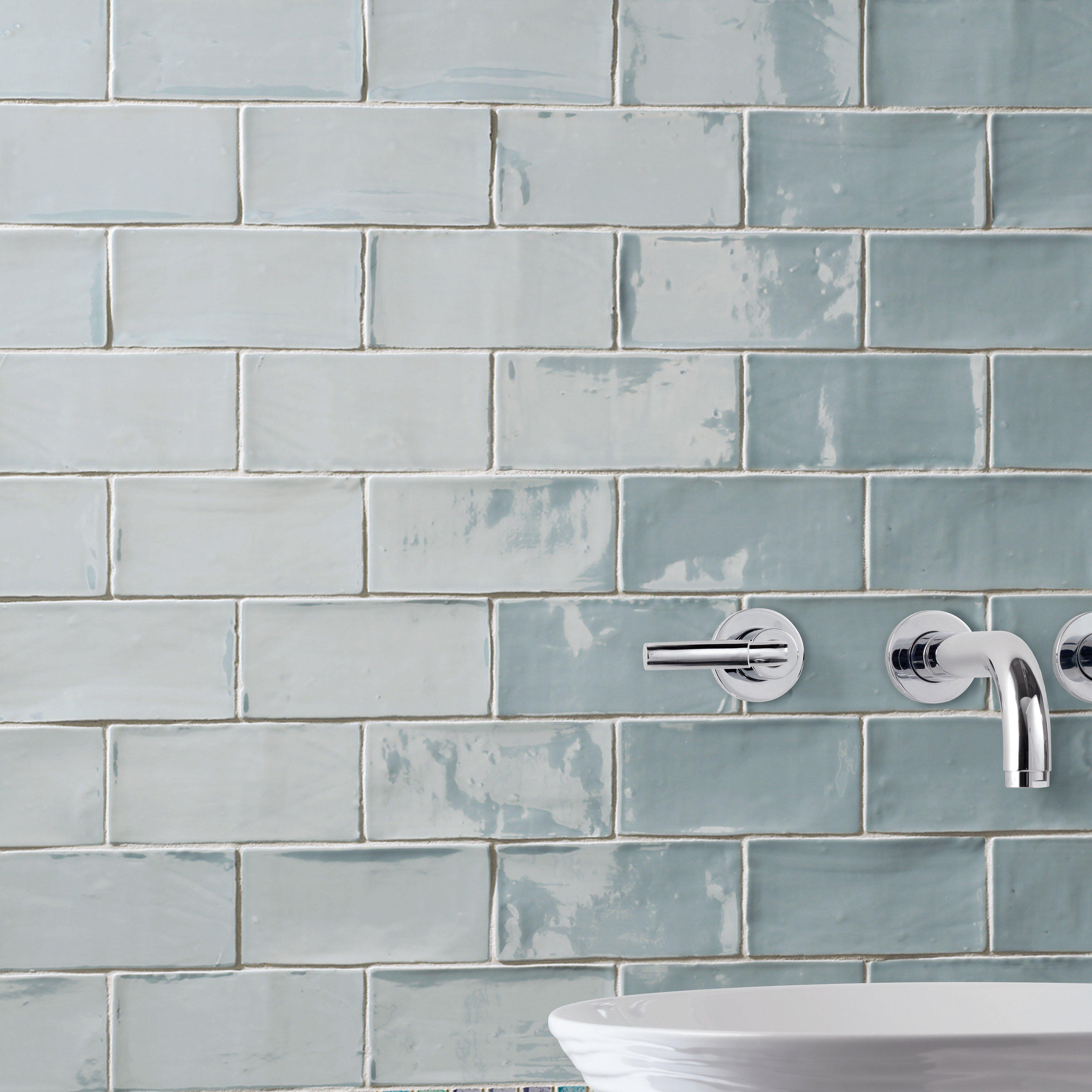 """Ceramic Floor Tile Bathroom: EliteTile Tivoli 3"""" X 6"""" Ceramic Subway Tile In Aqua"""