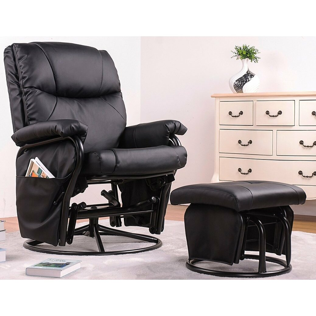 leather glider chair ergonomic swivel glider rocking recliner and ottoman wayfair 16636 | Merax Ergonomic Pu Leather Swivel Glider Recliner Rocking Chair and Ottoman Set Black PP006989BAA