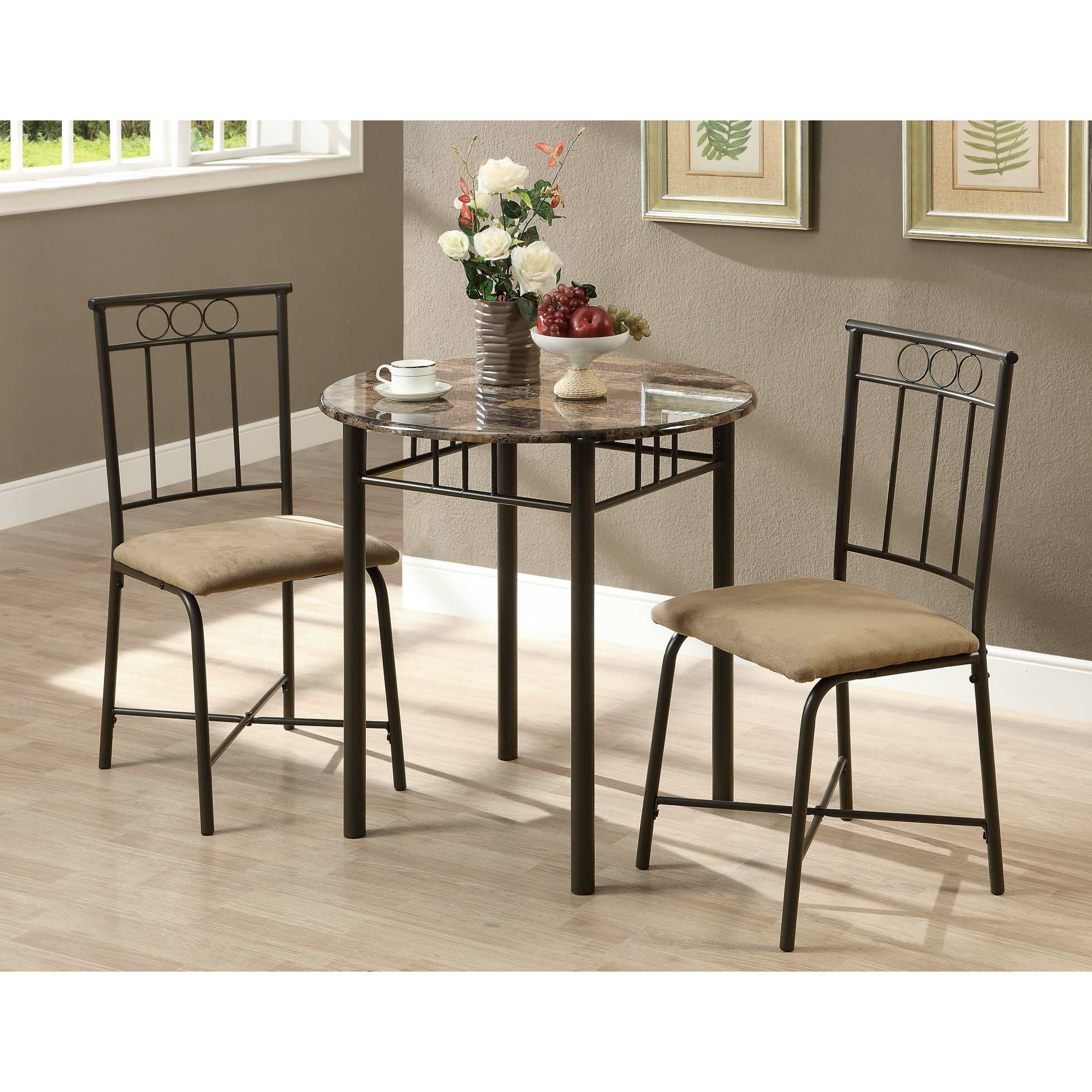 monarch specialties inc 3 piece dining set ii reviews wayfair. Black Bedroom Furniture Sets. Home Design Ideas