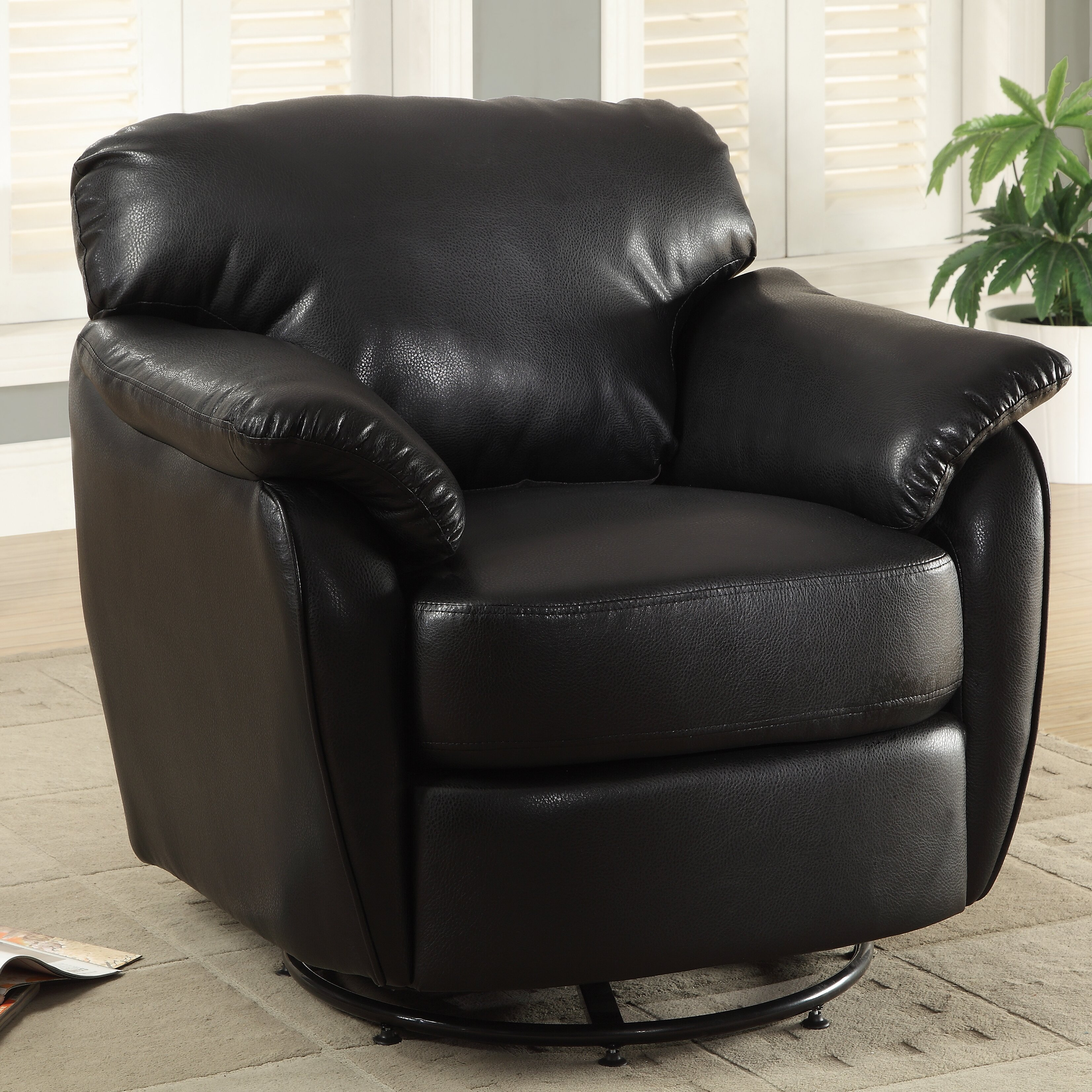 Monarch Specialties Inc Leather Look Swivel Lounge Chair