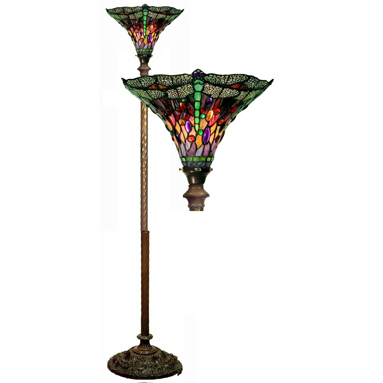 warehouse of tiffany dragonfly 72 torchiere floor lamp reviews. Black Bedroom Furniture Sets. Home Design Ideas