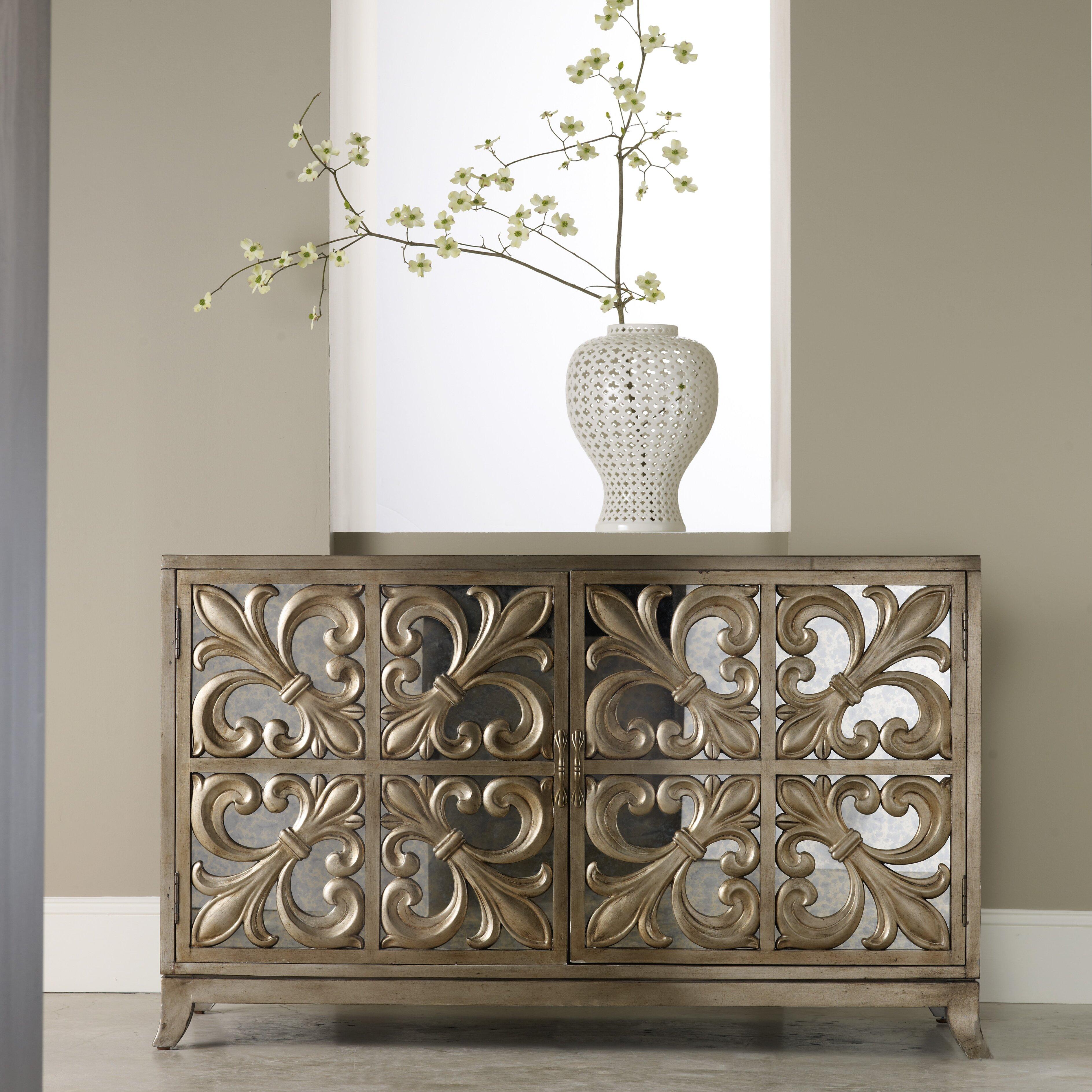 Hooker Furniture Melange Fleur de lis Mirrored Credenza