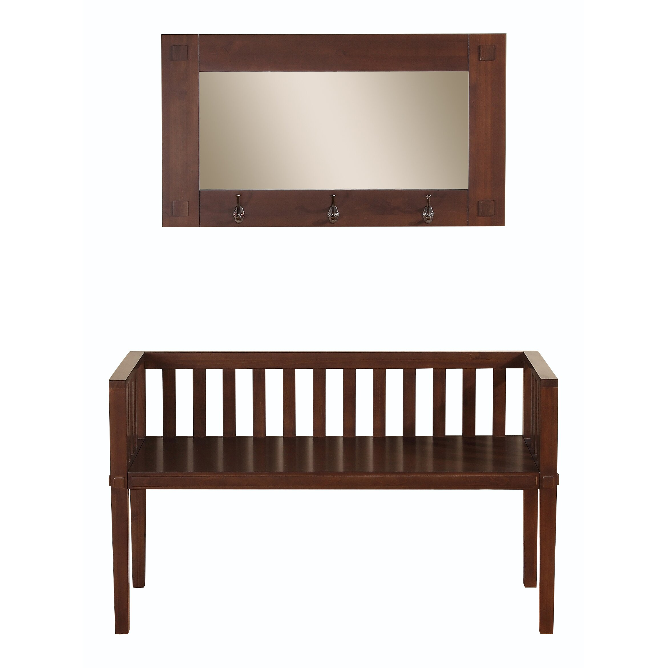 Simpli Home Greyson Wood Storage Entryway Bench With Mirror Reviews Wayfair