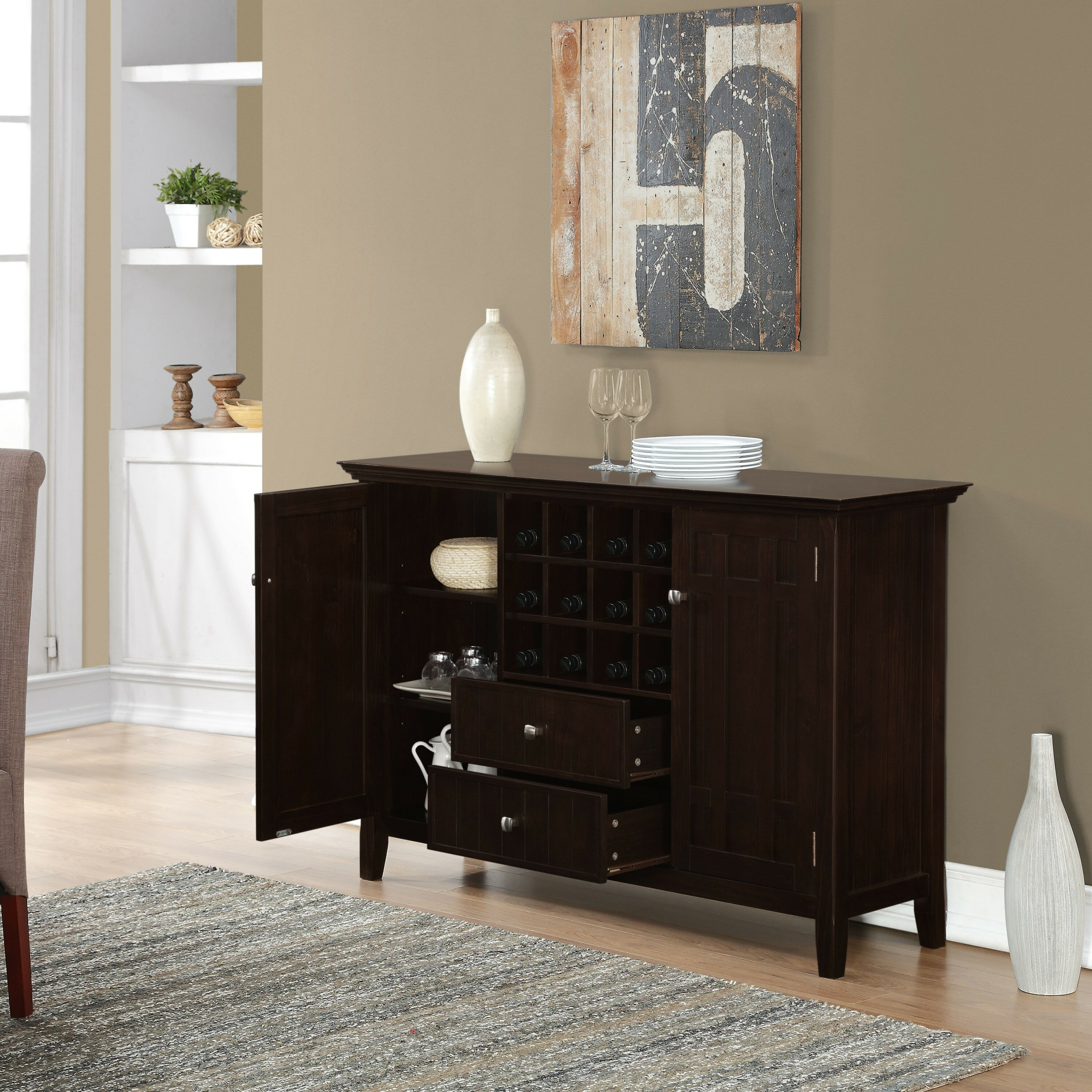 Simpli Home Bedford Sideboard Buffet And Wine Rack
