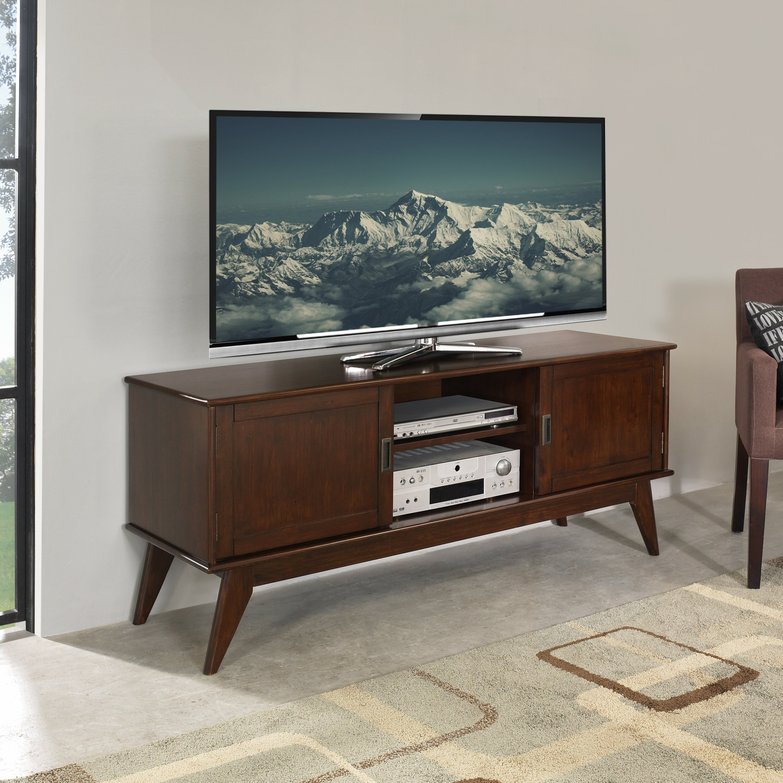 simpli home draper mid century low tv stand reviews wayfair. Black Bedroom Furniture Sets. Home Design Ideas