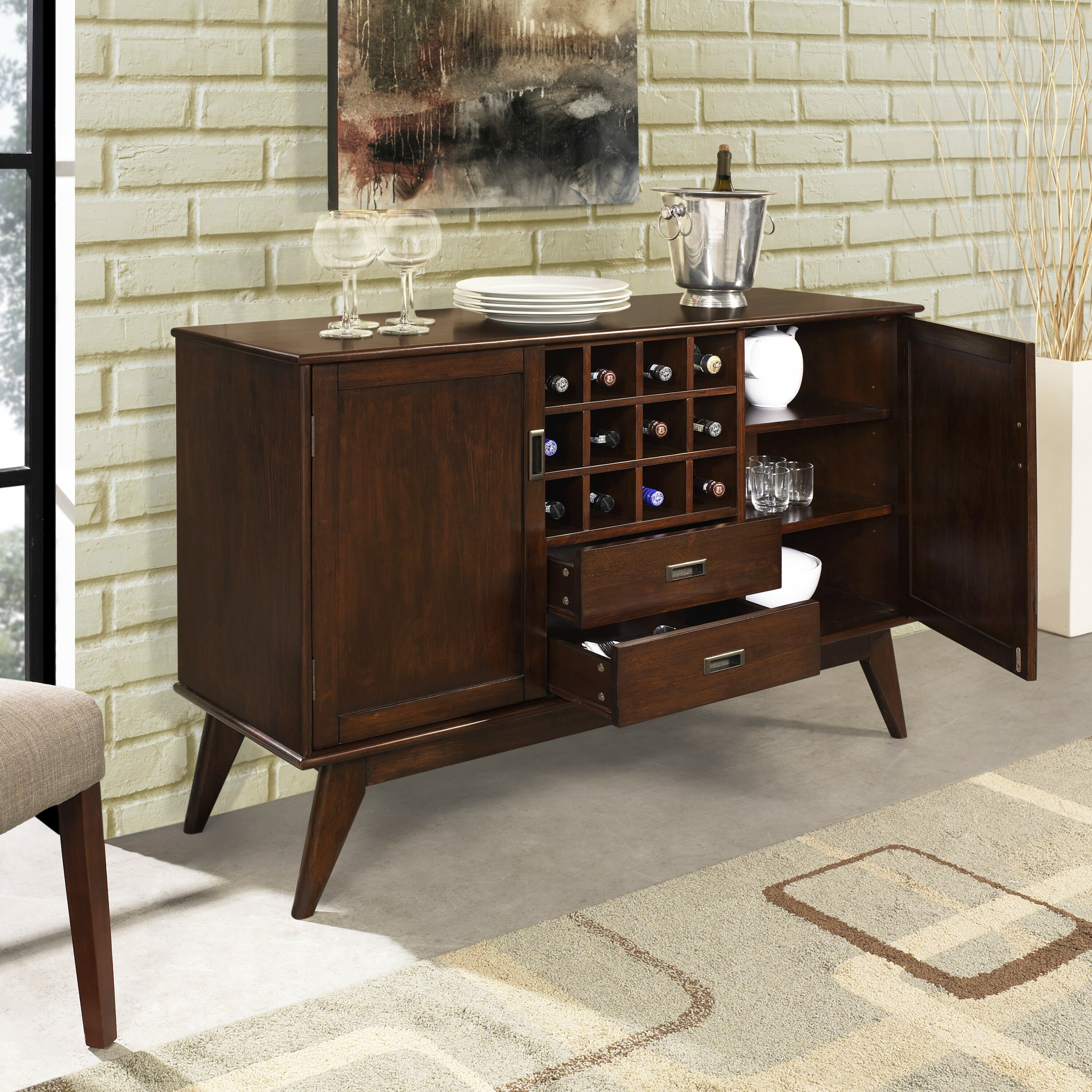 Simpli Home Draper Mid Century Sideboard Buffet And Wine