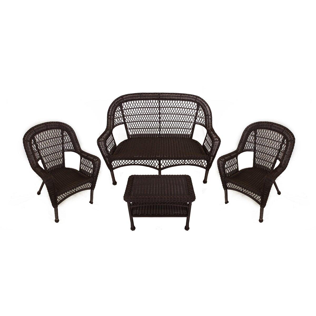 LB International 4 Piece Resin Wicker Patio Furniture Set