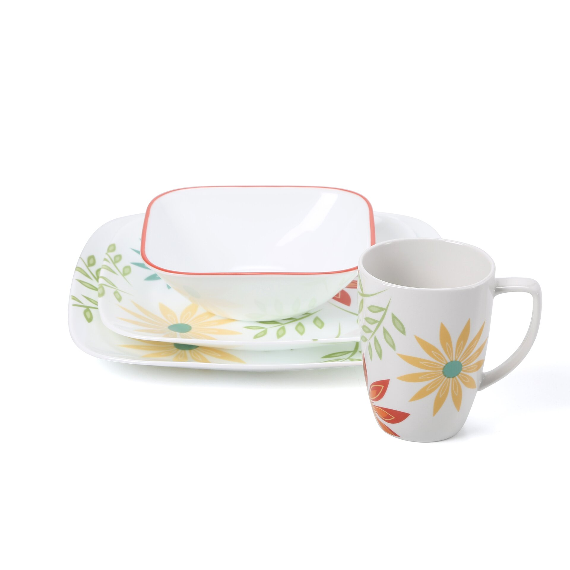 corelle happy days 16 piece dinnerware set reviews wayfair