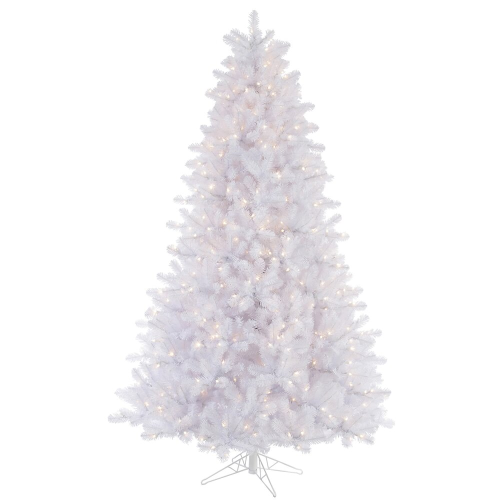 7.5' Crystal White Pine Artificial Christmas Tree 650 LED ...