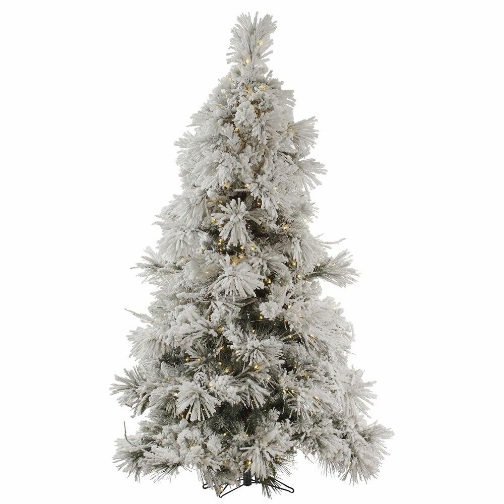 Flocked Pocono 7.5' White Pine Artificial Christmas Tree ...