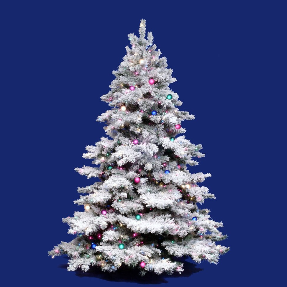 Vickerman Flocked Alaskan 3' White Artificial Christmas ...