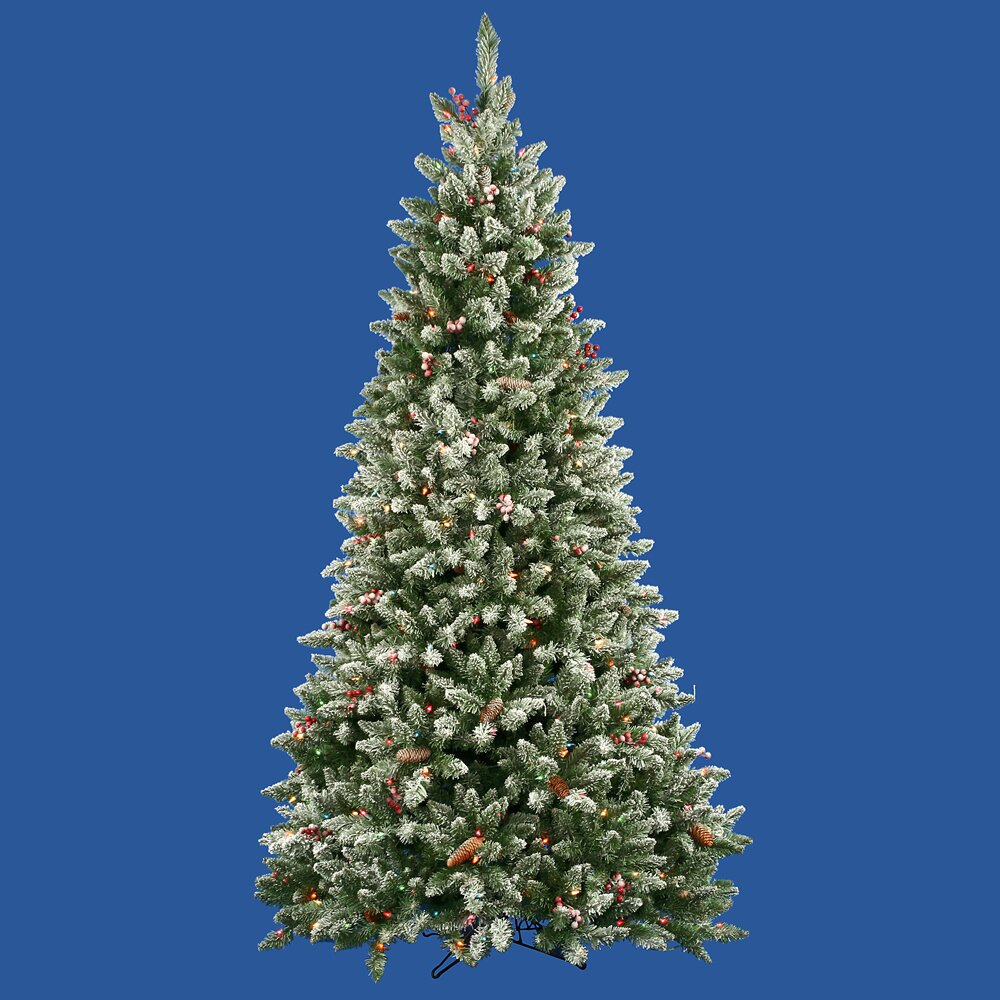 Berry Christmas Tree Lights: 7.5' Frosted Edina Fir Cones And Berries Christmas Tree