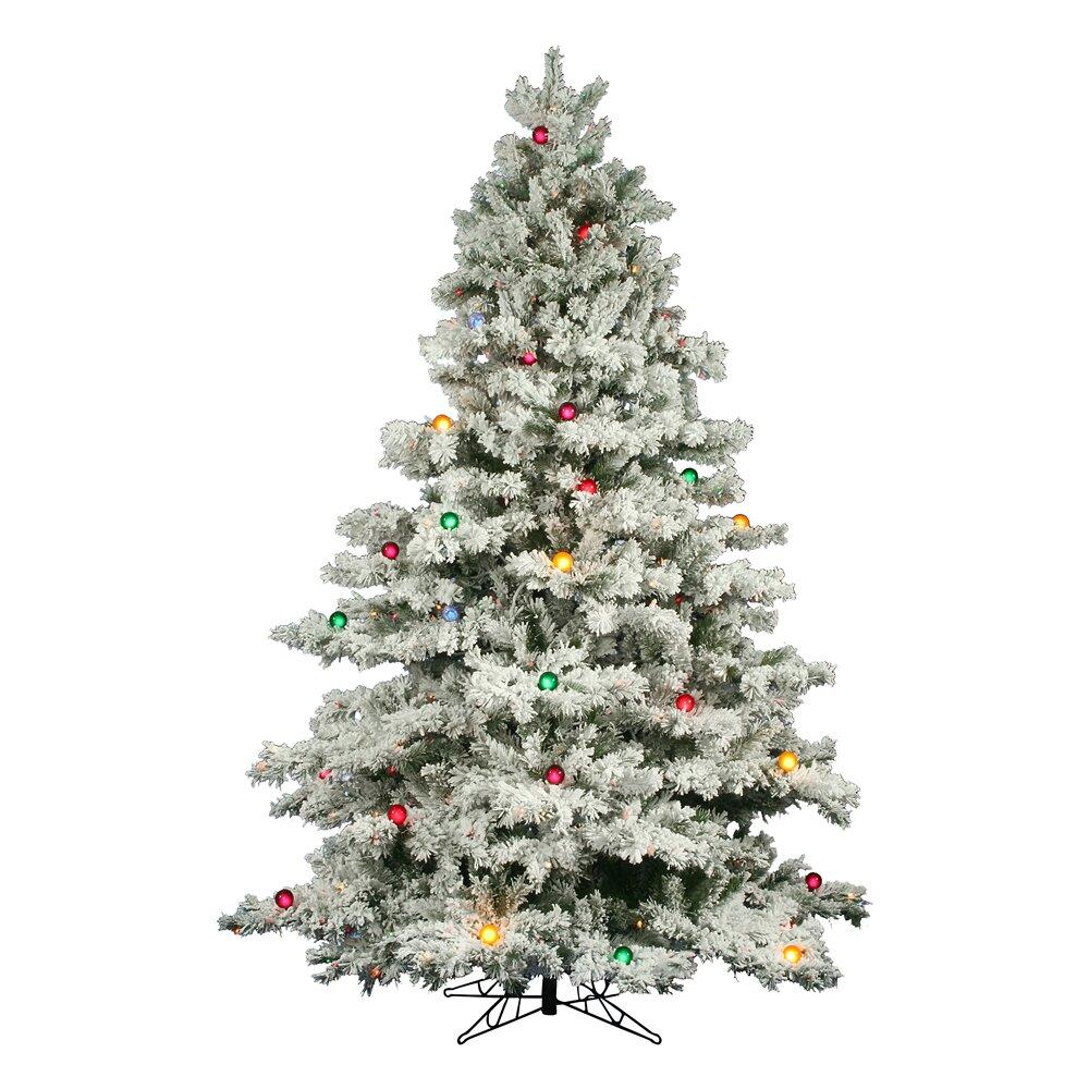 Flocked Christmas Tree: Vickerman Flocked Alaskan 7.5' White Artificial Christmas