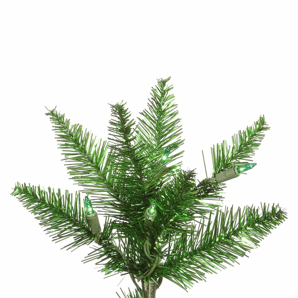 Vickerman 9 Tinsel Green Slim Fir Artificial Christmas Tree with 700