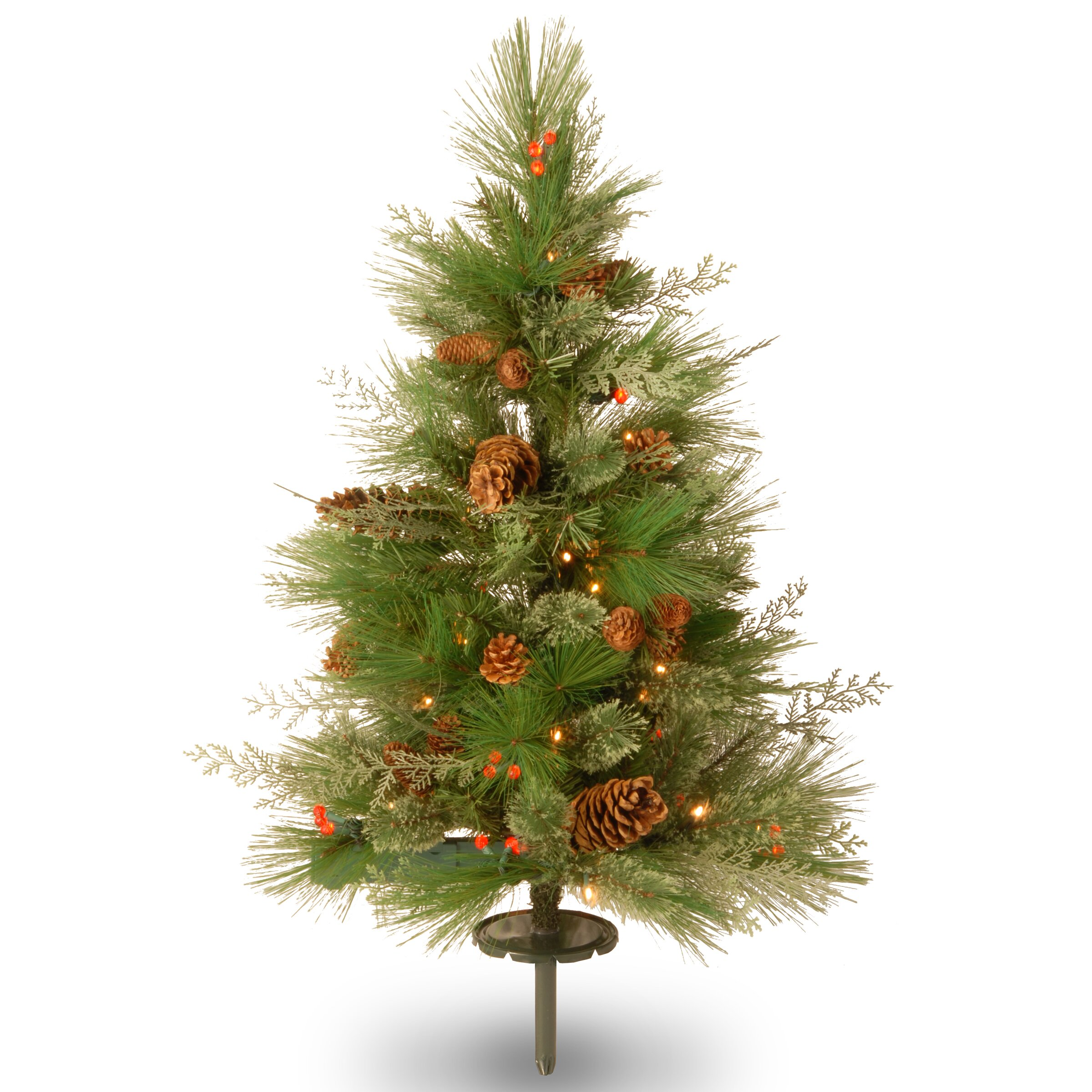 "Red Red Pine Christmas Tree: White Pine 2' 6"" Green Pathway Artificial Christmas Tree"
