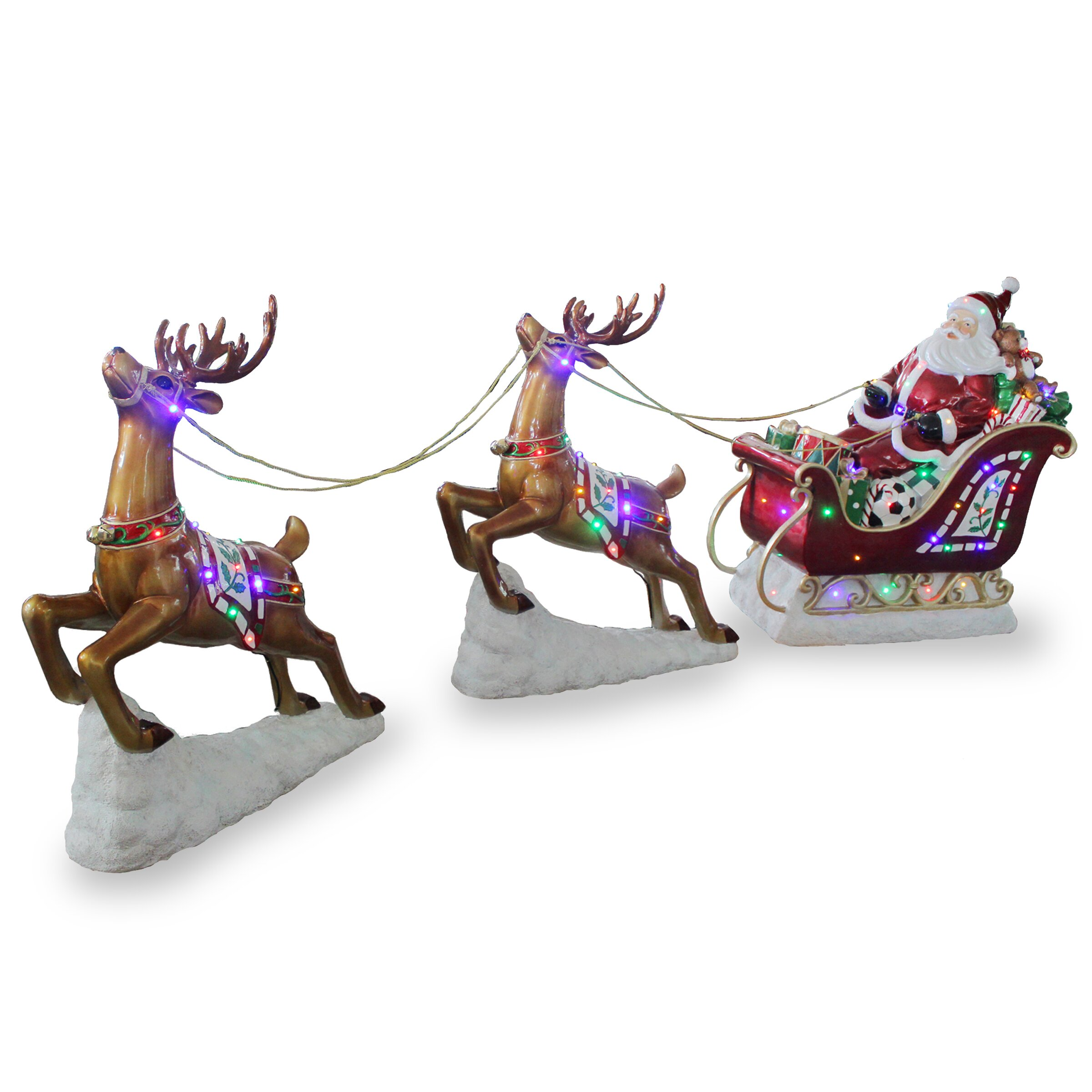 Lighted santa sleigh reindeer decoration outdoor lighted santa claus