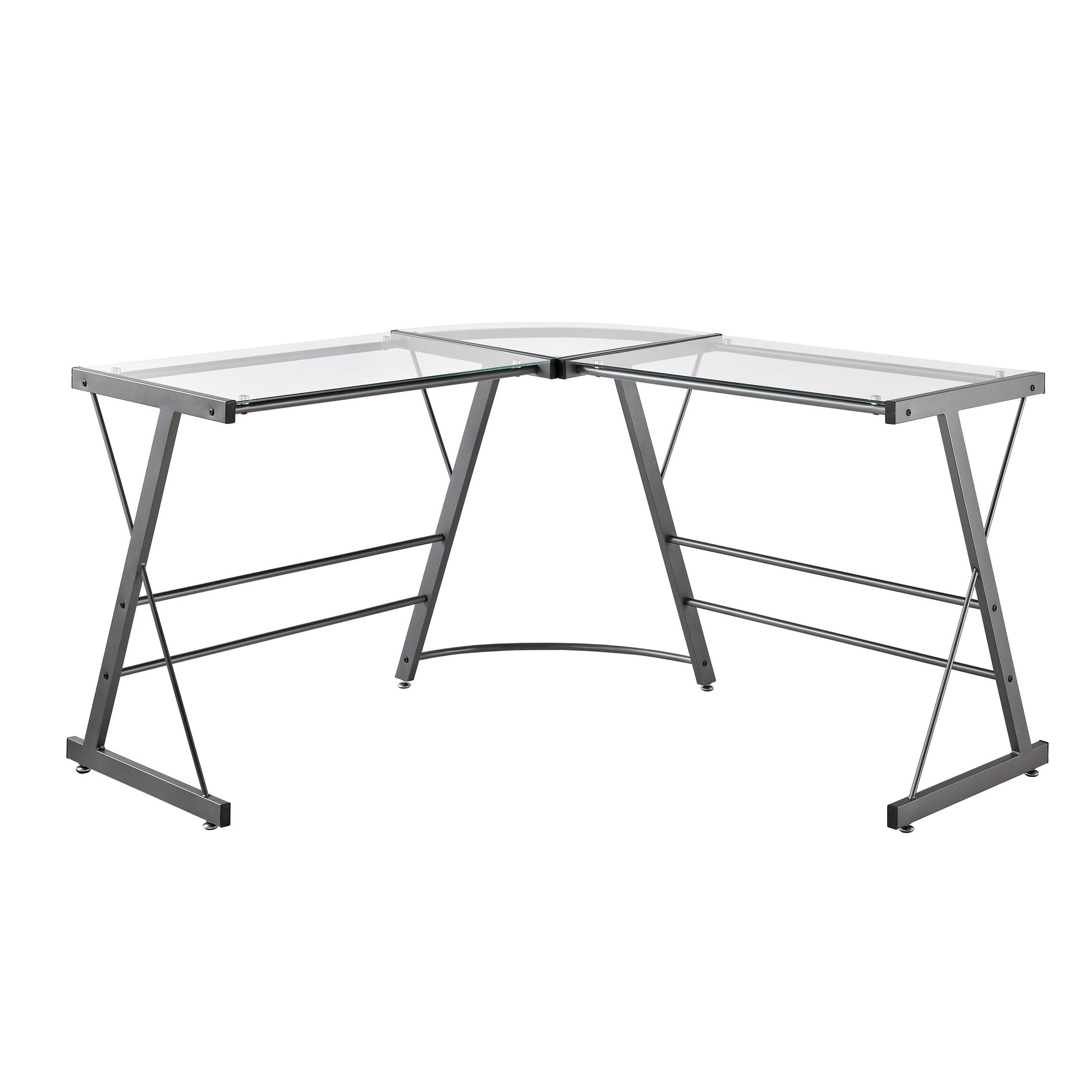 Altra Glass L Shaped Writing Desk & Reviews Wayfair. Full resolution‎  picture, nominally Width 2279 Height 2279 pixels, picture with #4F5859.