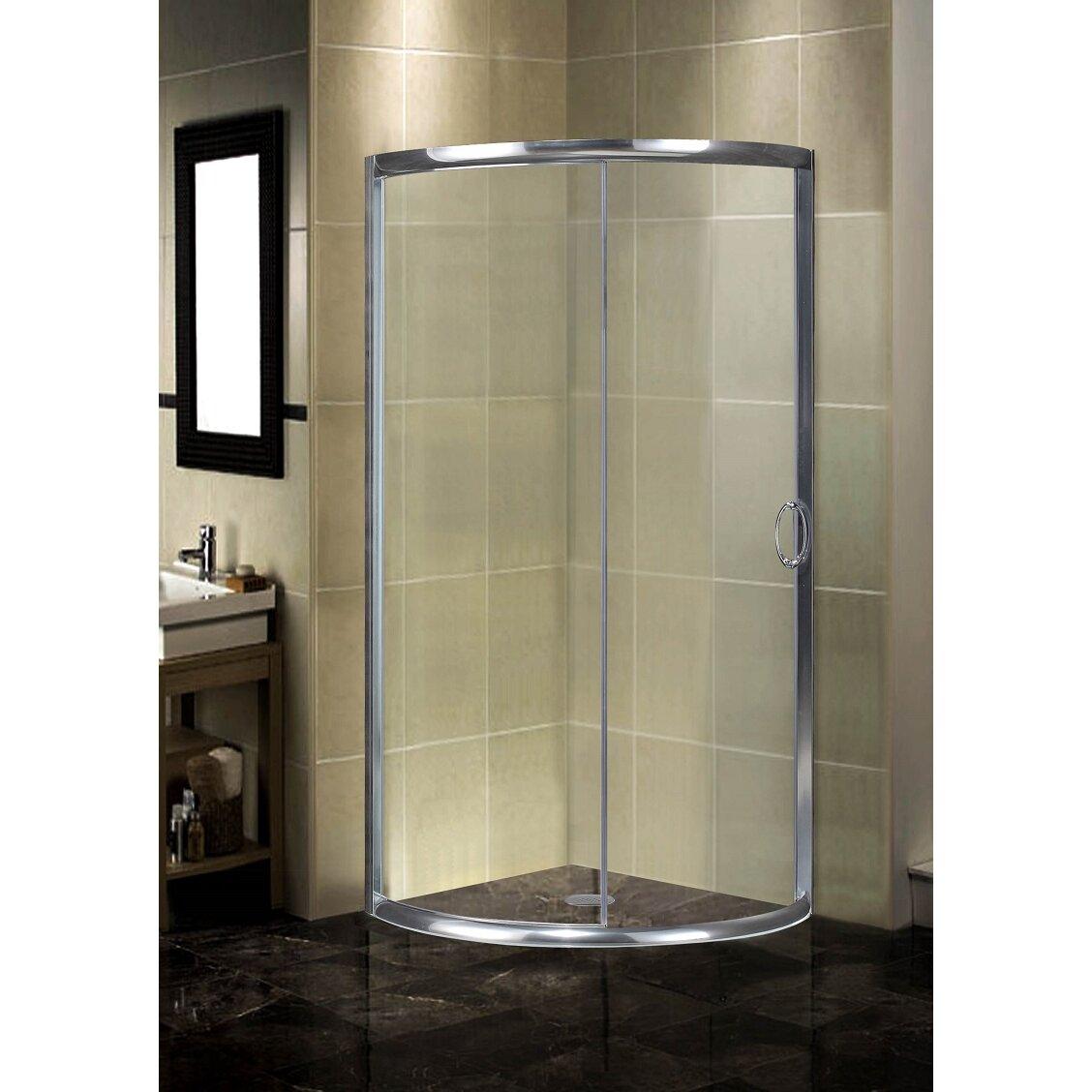 """Round Sliding Door Design: Semi-Frameless 40"""" X 40"""" X 75"""" Round Shower Enclosure"""