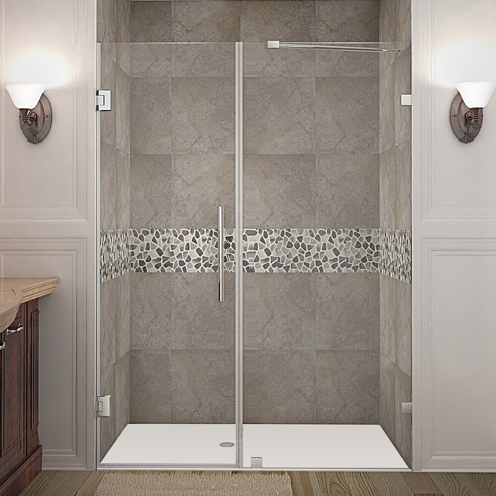"Aston Nautis 58"" Frameless Hinged Swing Shower Door ..."