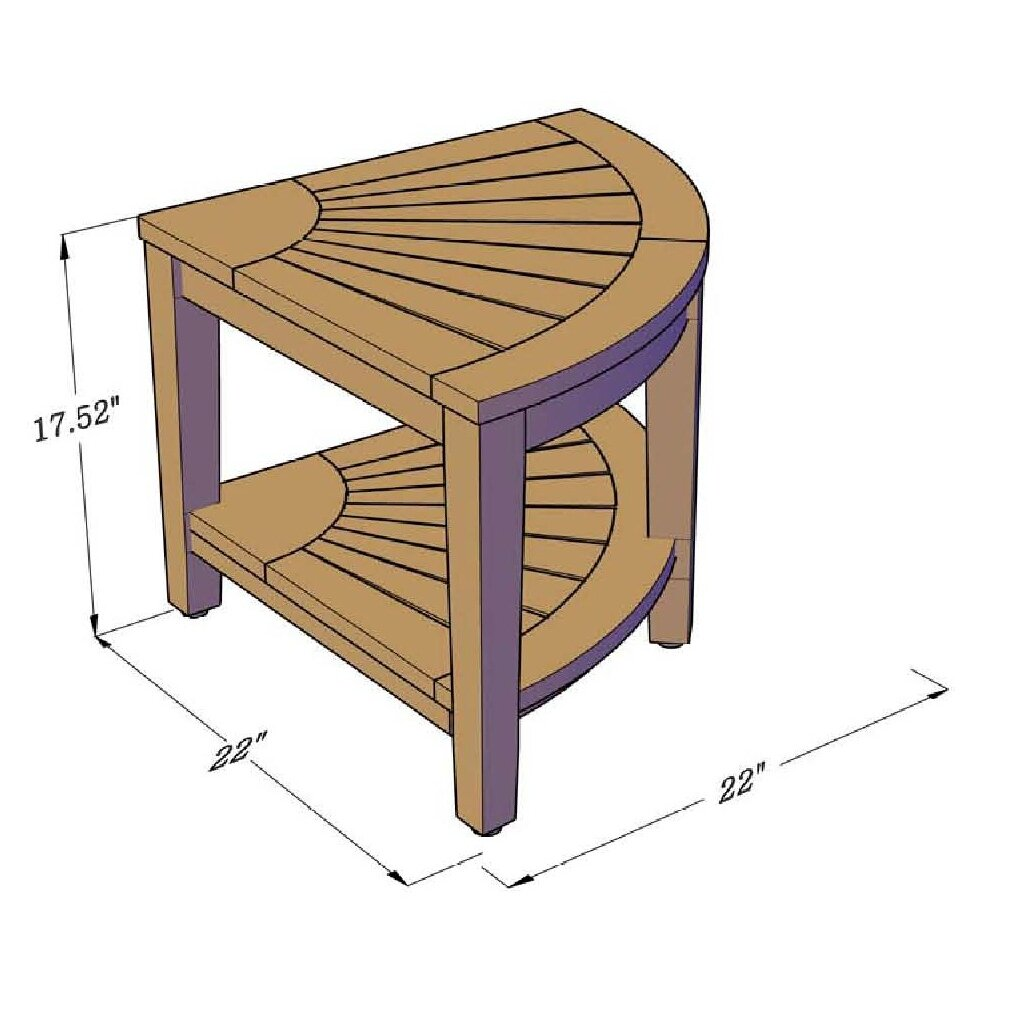 Aqua Teak Corner Shower Stool with Shelf
