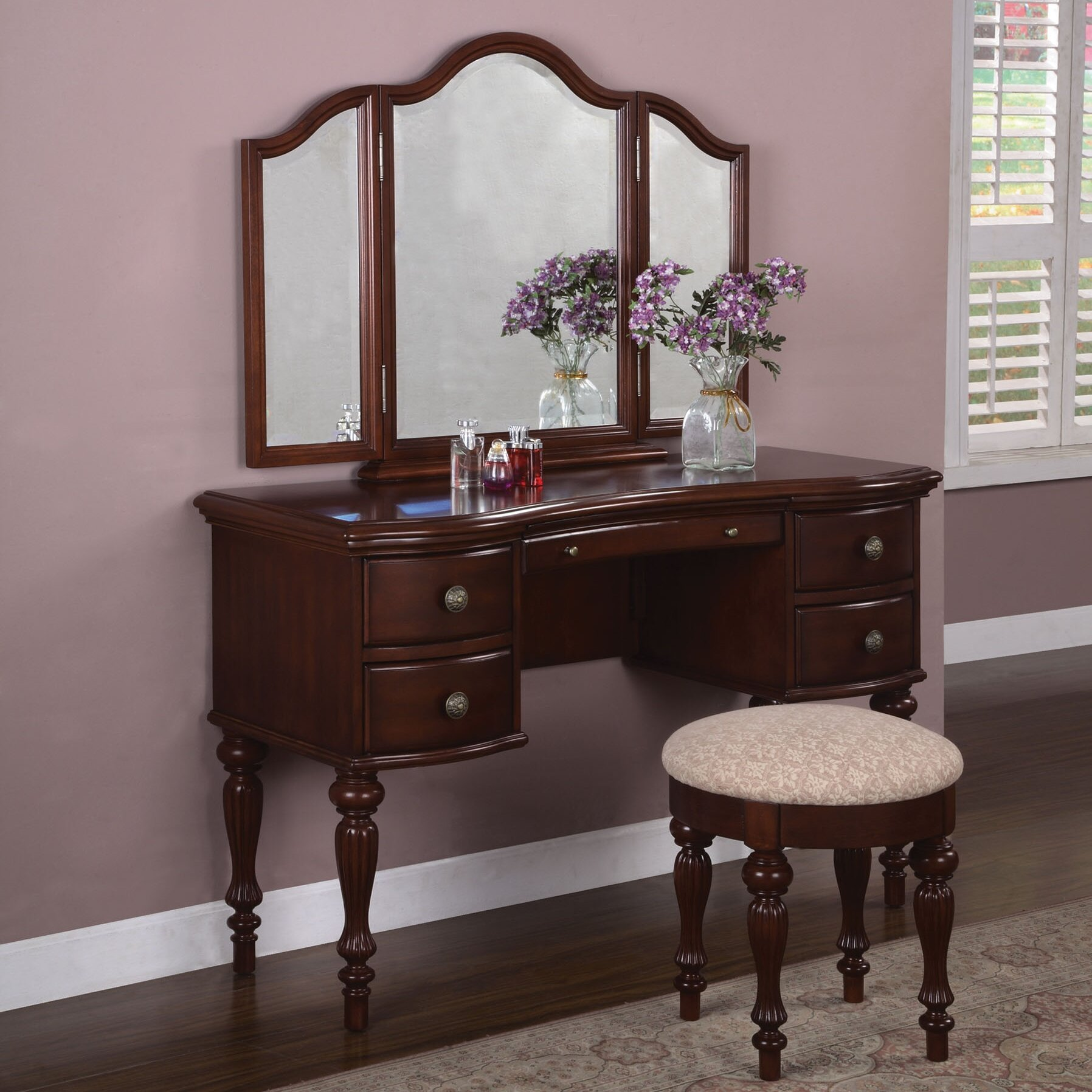 Powell Marquis Cherry Vanity Set with Mirror & Reviews ...