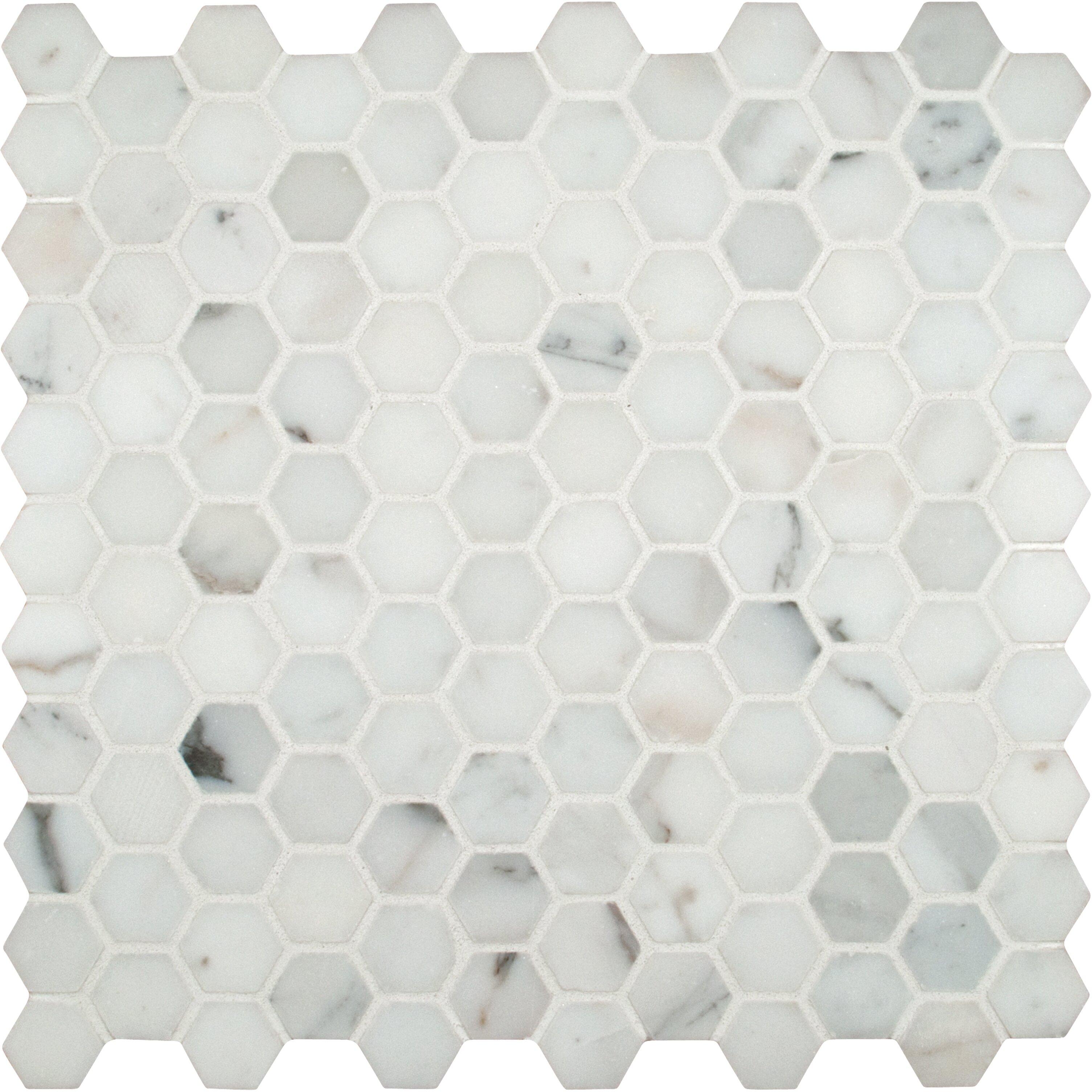 msi calacatta gold hexagon mounted 1 x 1 marble mosaic