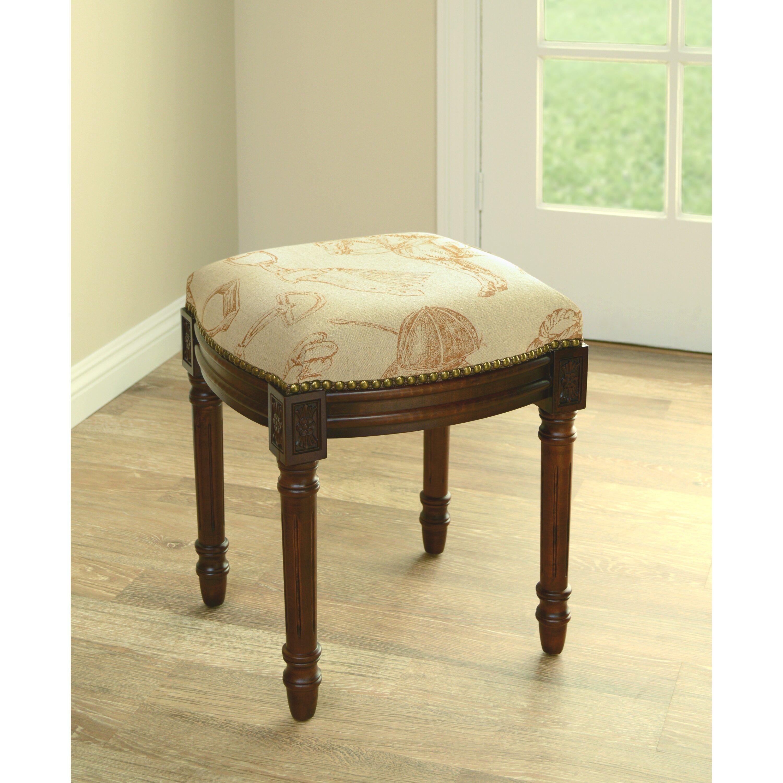 123 Creations Equestrian Linen Upholstered Vanity Stool