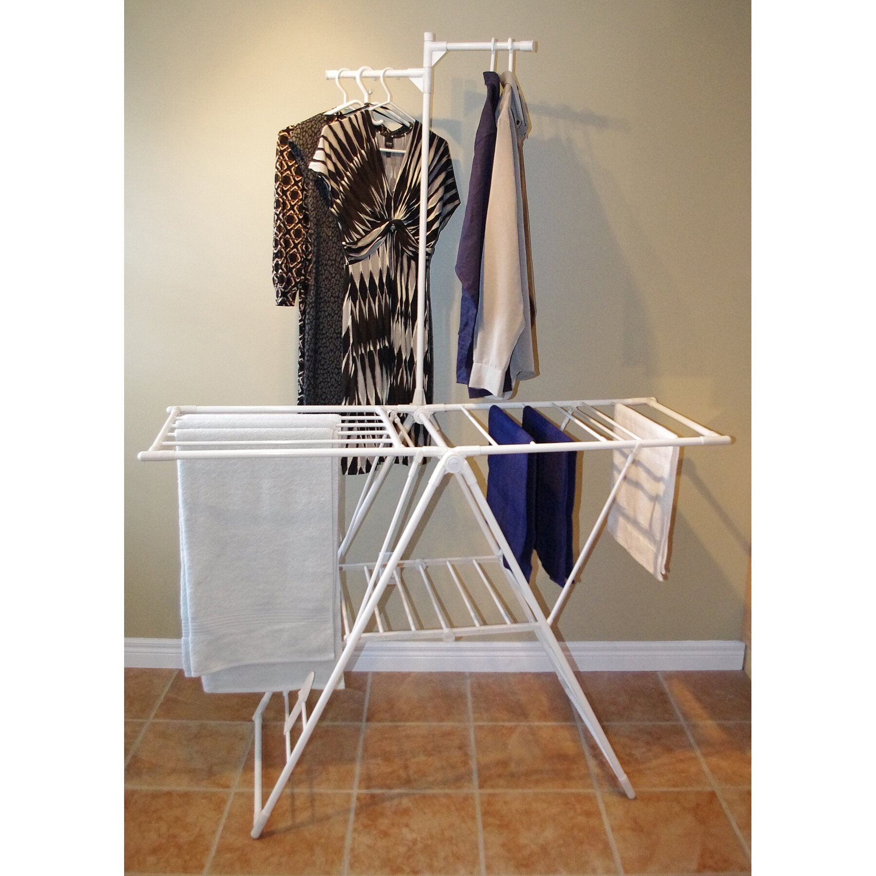 greenway drying rack with clothes hanger bar reviews wayfair. Black Bedroom Furniture Sets. Home Design Ideas