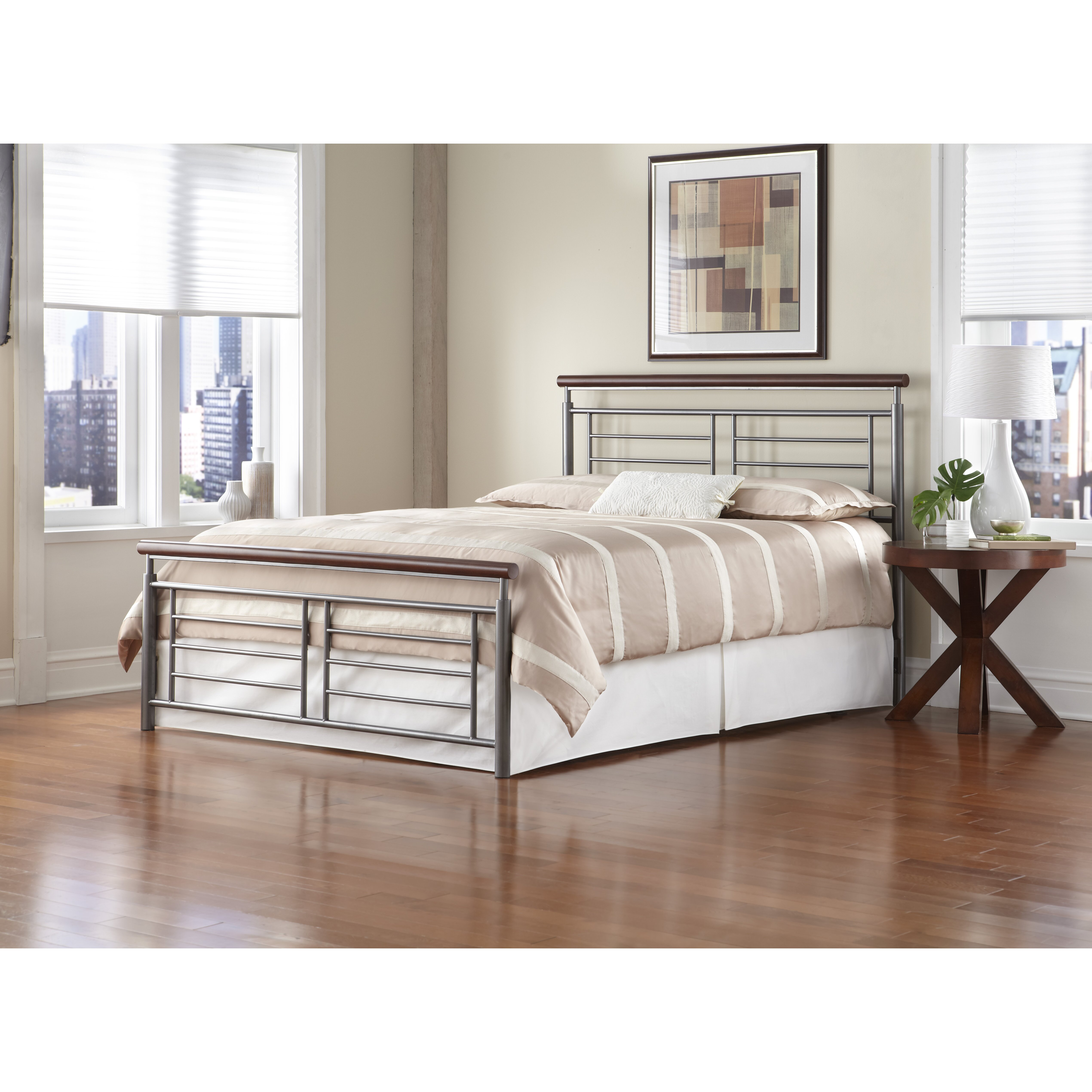 metal panel bed frame with headboard and footboard bedroom furniture
