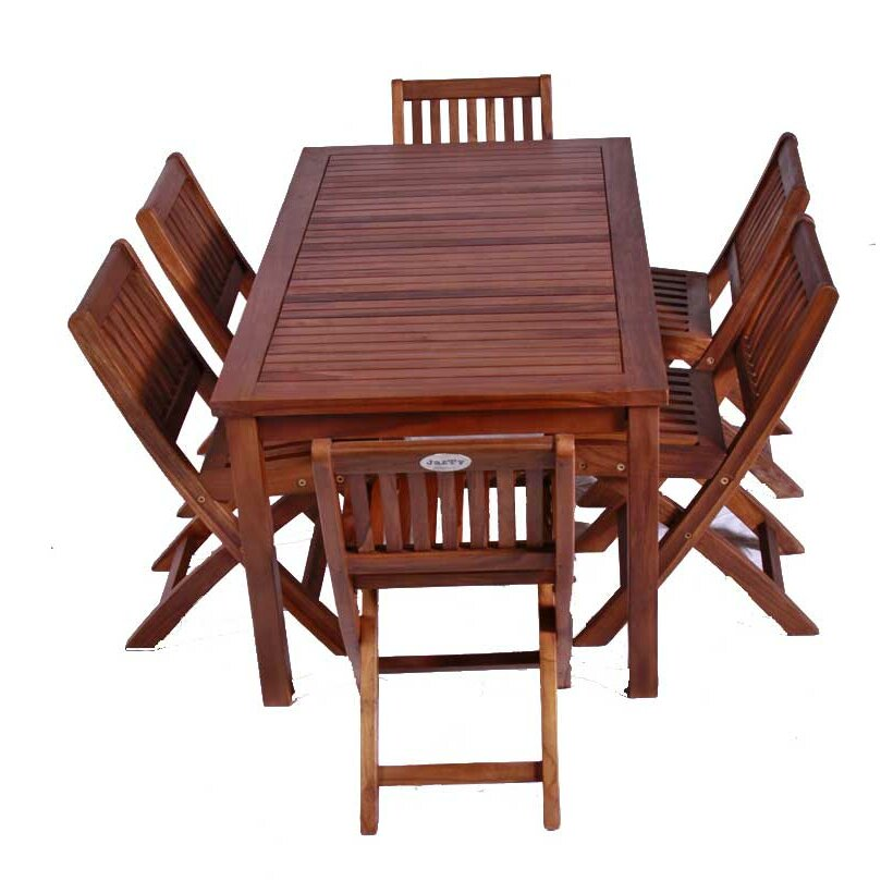 Classic Kids 7 Piece Teak Table and Folding Chair Set