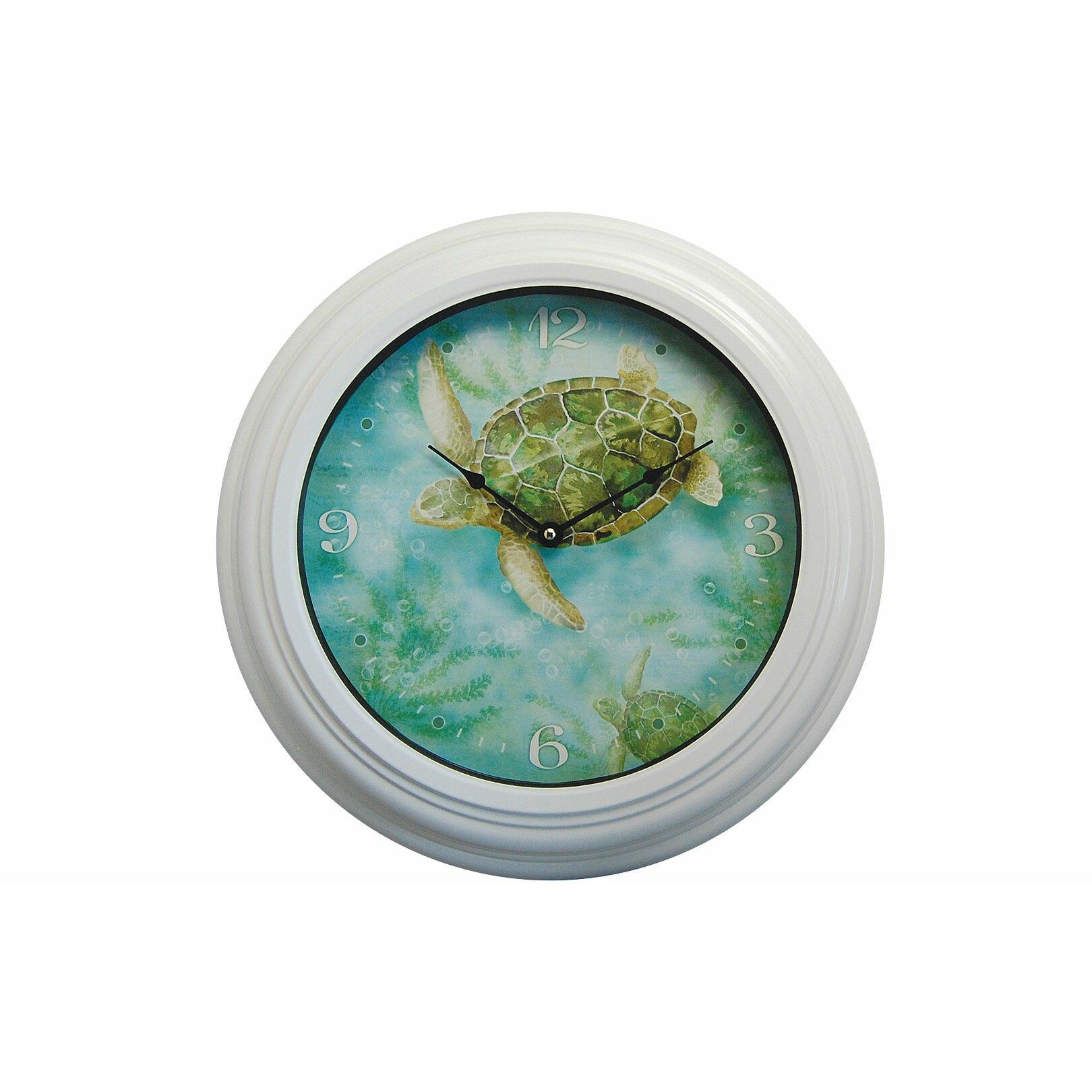 "Sea Life Turtle Wave Rug2 Bath Mat: Rightside Design I Sea Life 19"" Sea Turtle Wall Clock"