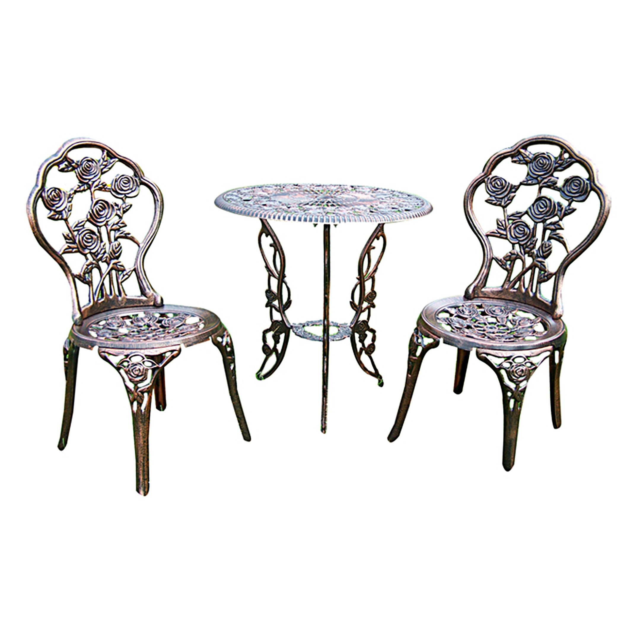 oakland living rose 3 piece bistro set reviews wayfair supply