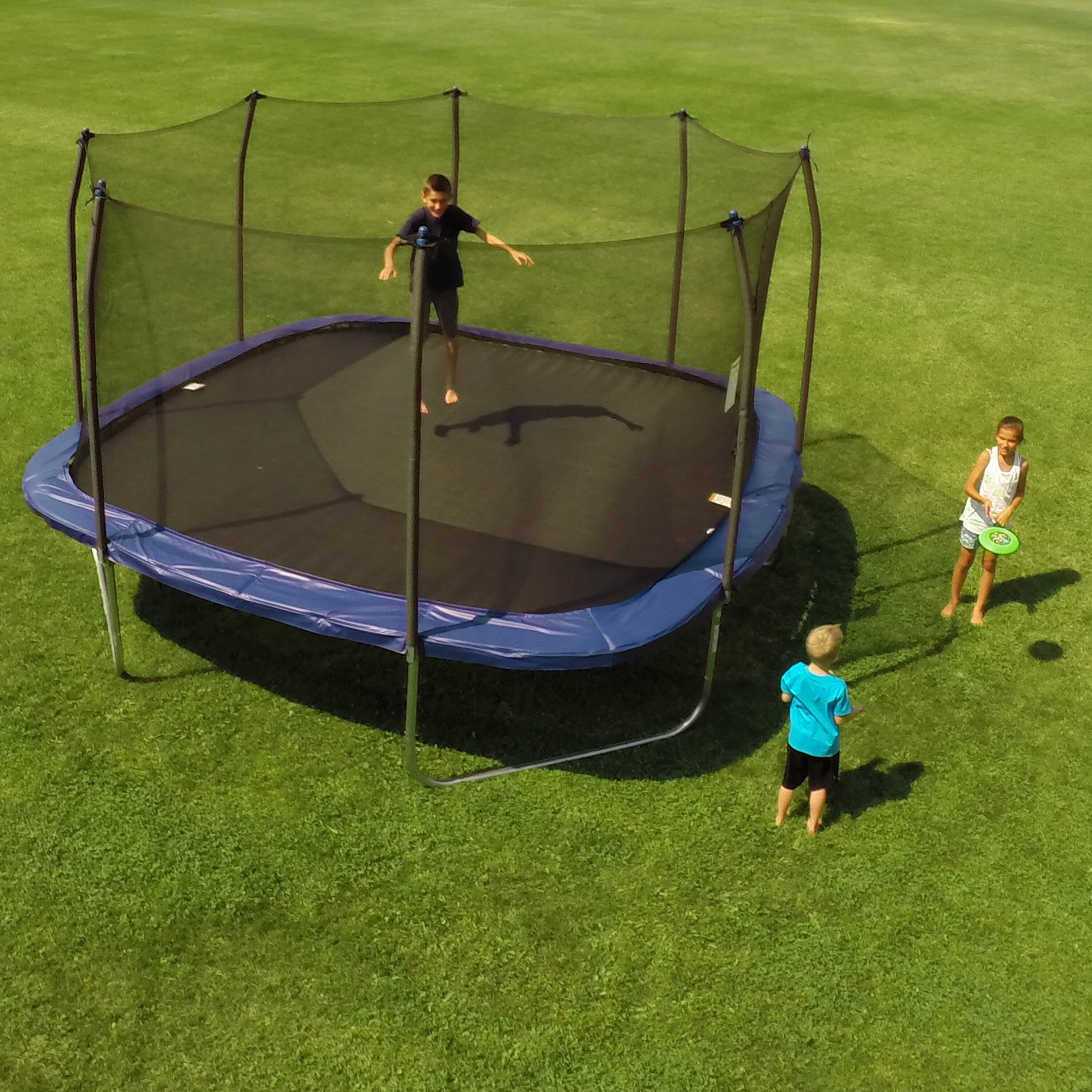 Skywalker 14 Foot Square Trampoline And Enclosure With: Skywalker 13' Square Trampoline With Enclosure & Reviews