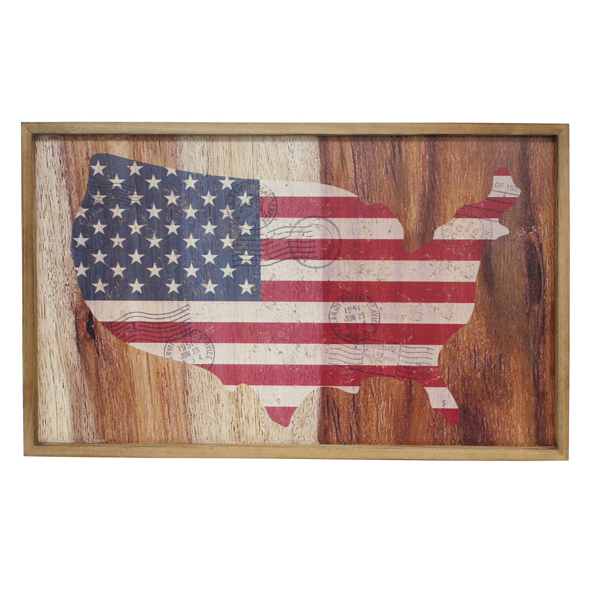 Fetco Home Decor Pledge American Flag Map Wall Decor