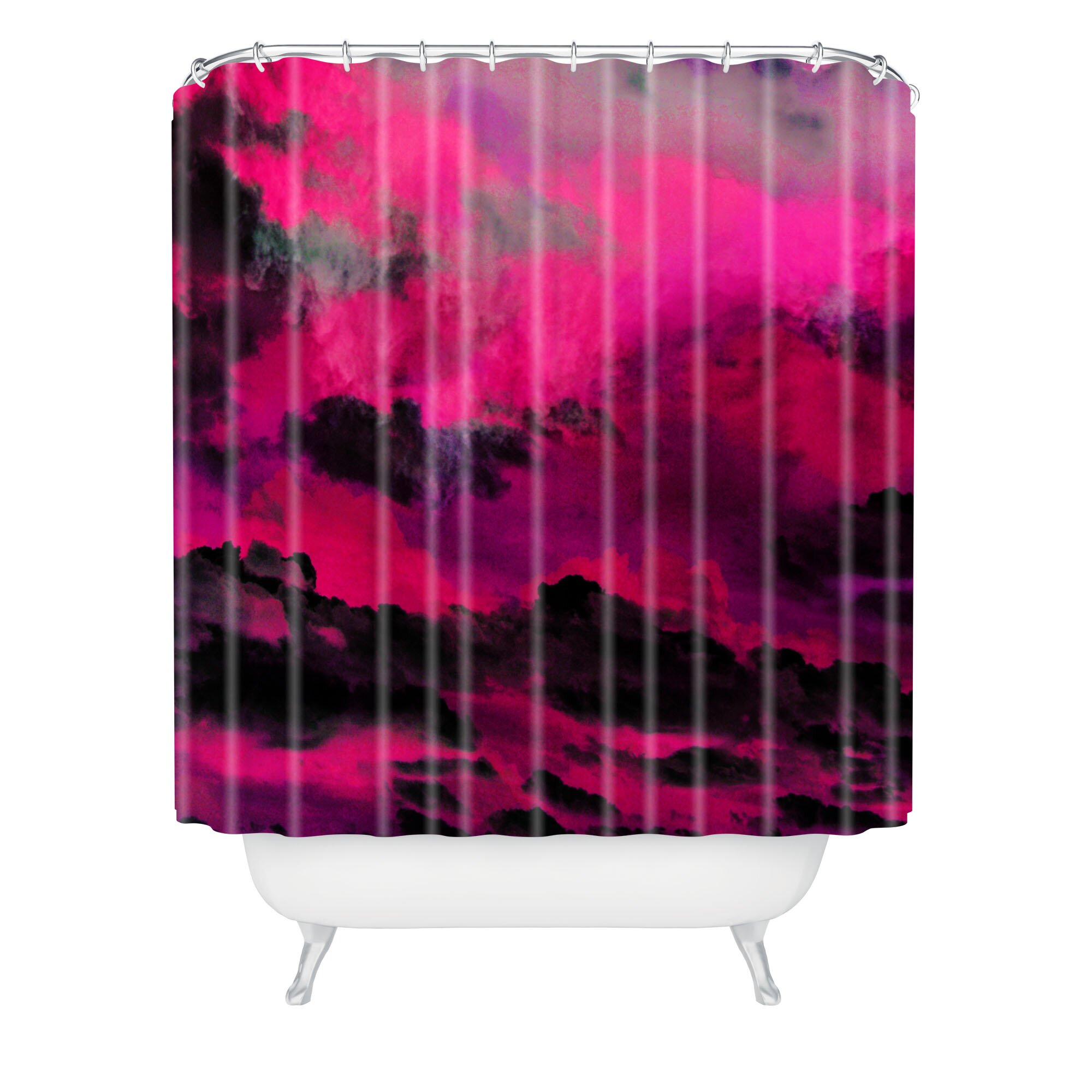 Caleb Troy Raspberry Storm Clouds Polyester Shower Curtain by DENY ...