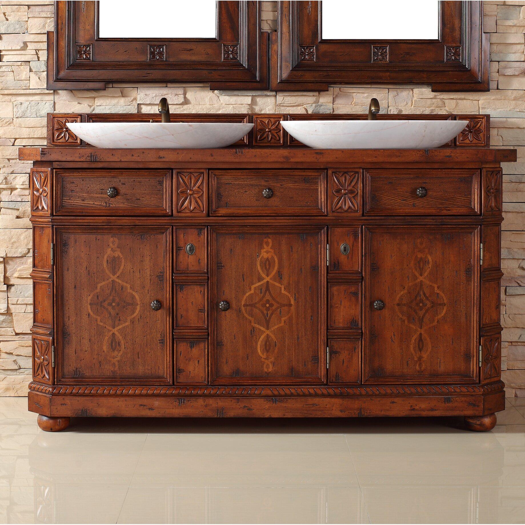 "Charleston 60"" Double Bathroom Vanity with Wood Top | Wayfair"