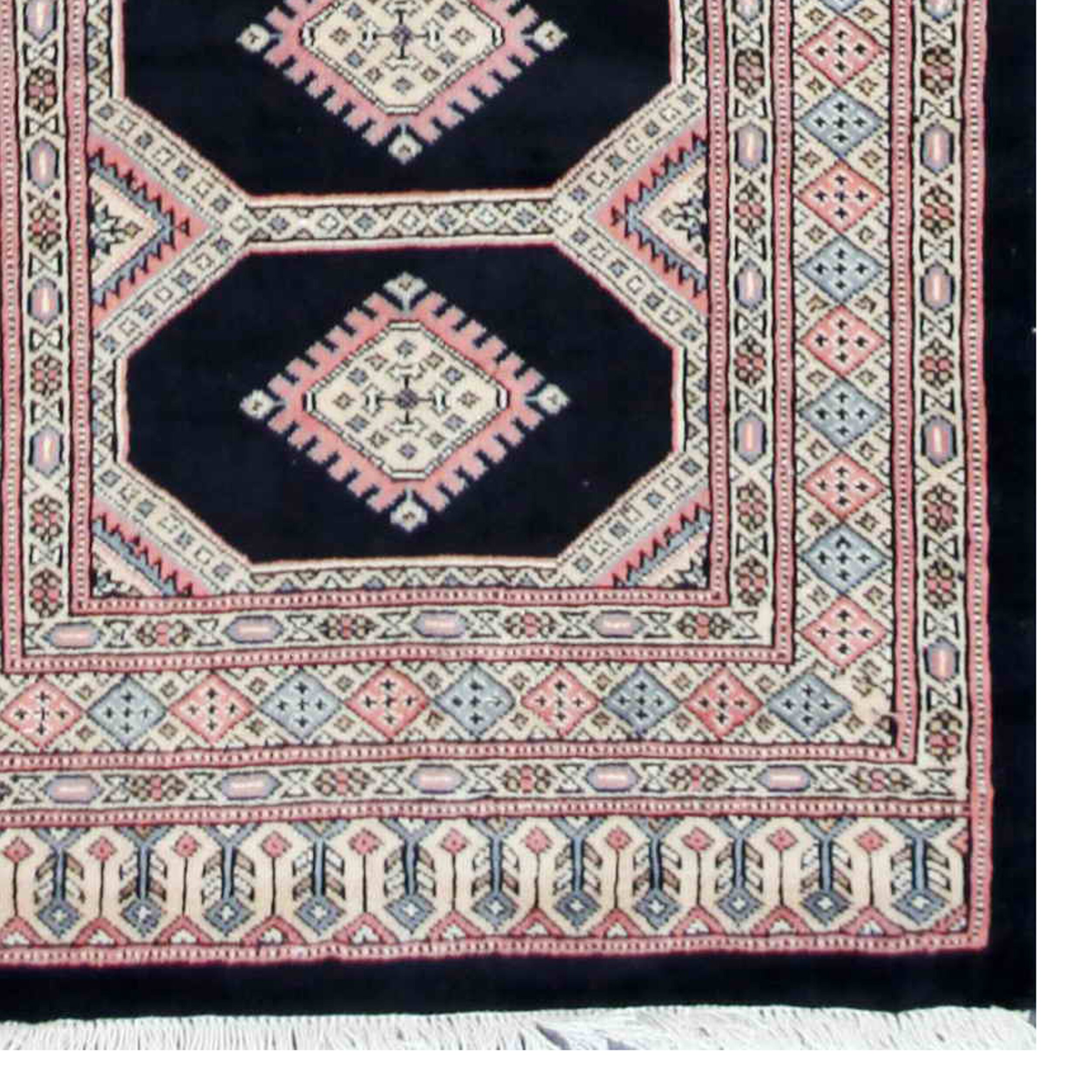 Herat Oriental Hand Tufted Wool Red Black Area Rug: Tribal Bokhara Hand-Knotted Black/Pink Area Rug