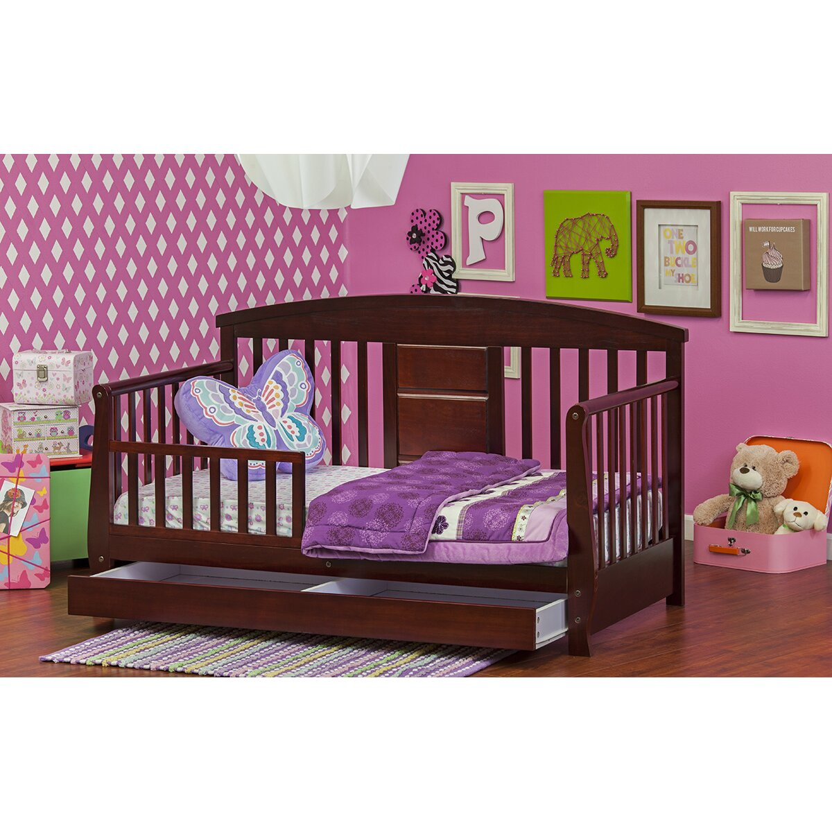 Dream On Me Deluxe Convertible Toddler Bed with Storage ...
