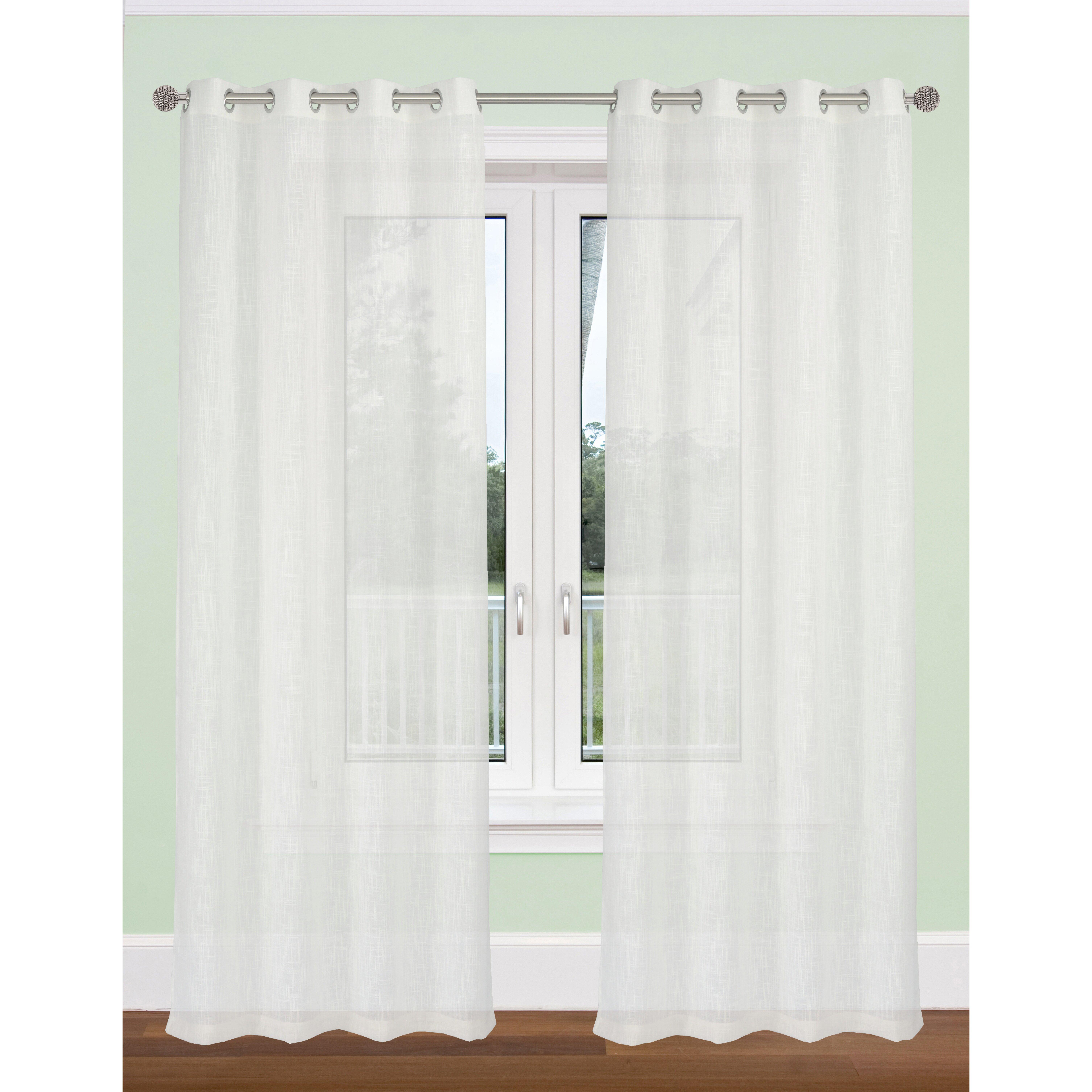 Textured Sheer Curtain Panels Smocked Sheer Curtain Panels