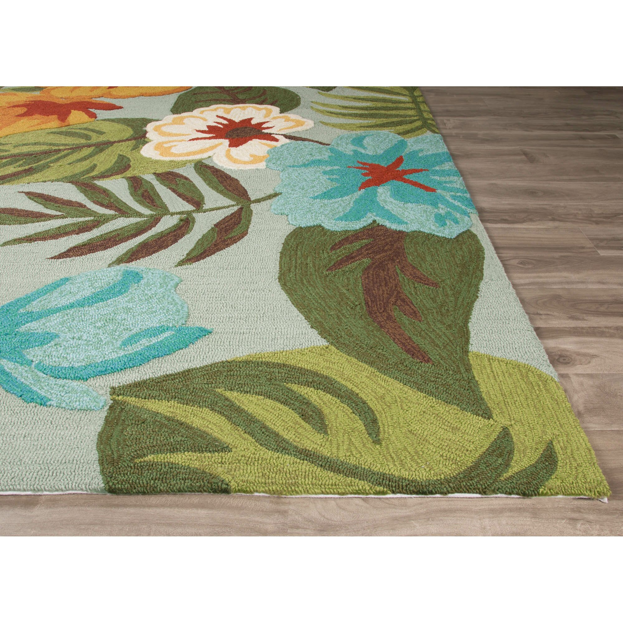 Jaipurliving coastal lagoon green gray indoor outdoor area for Indoor out door rugs