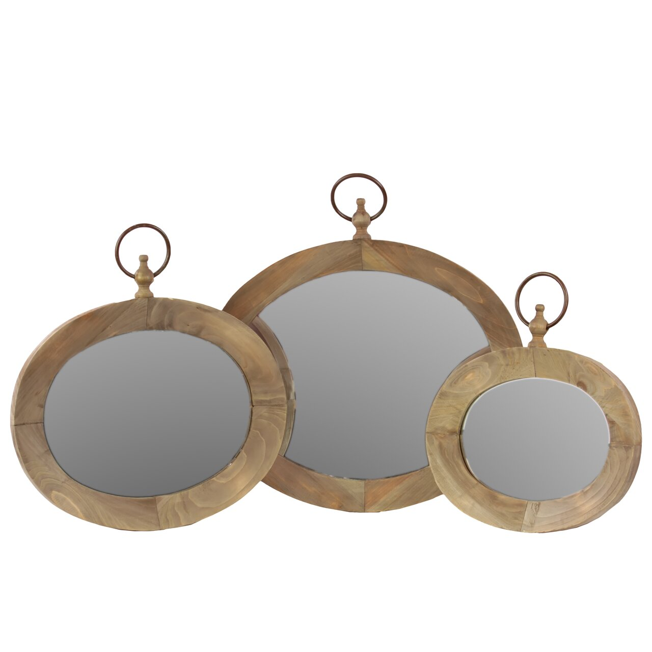 Wooden Mirror Set of Three Natural Finish | Wayfair