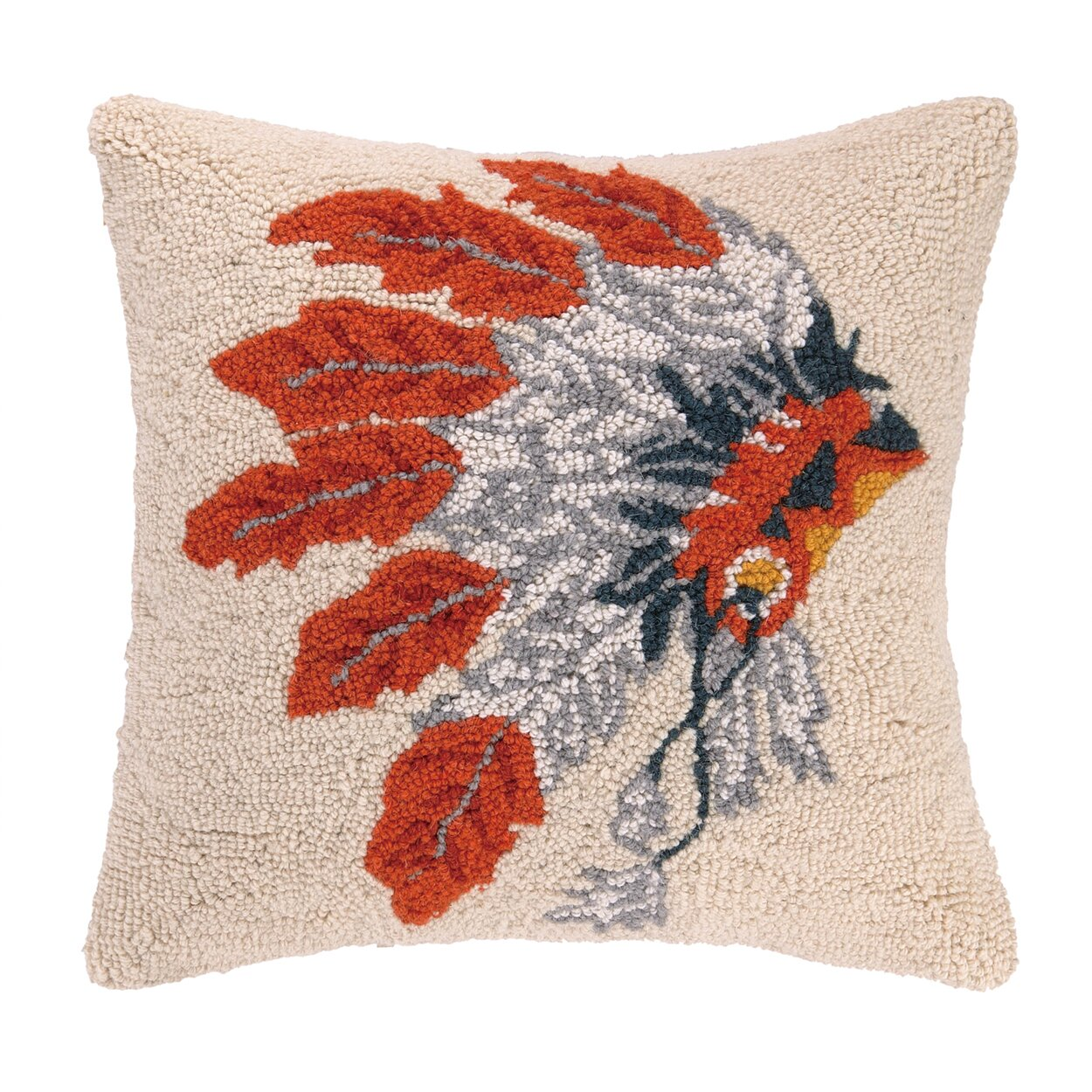Peking Handicraft Native American Headdress Hook Wool Throw Pillow & Reviews Wayfair