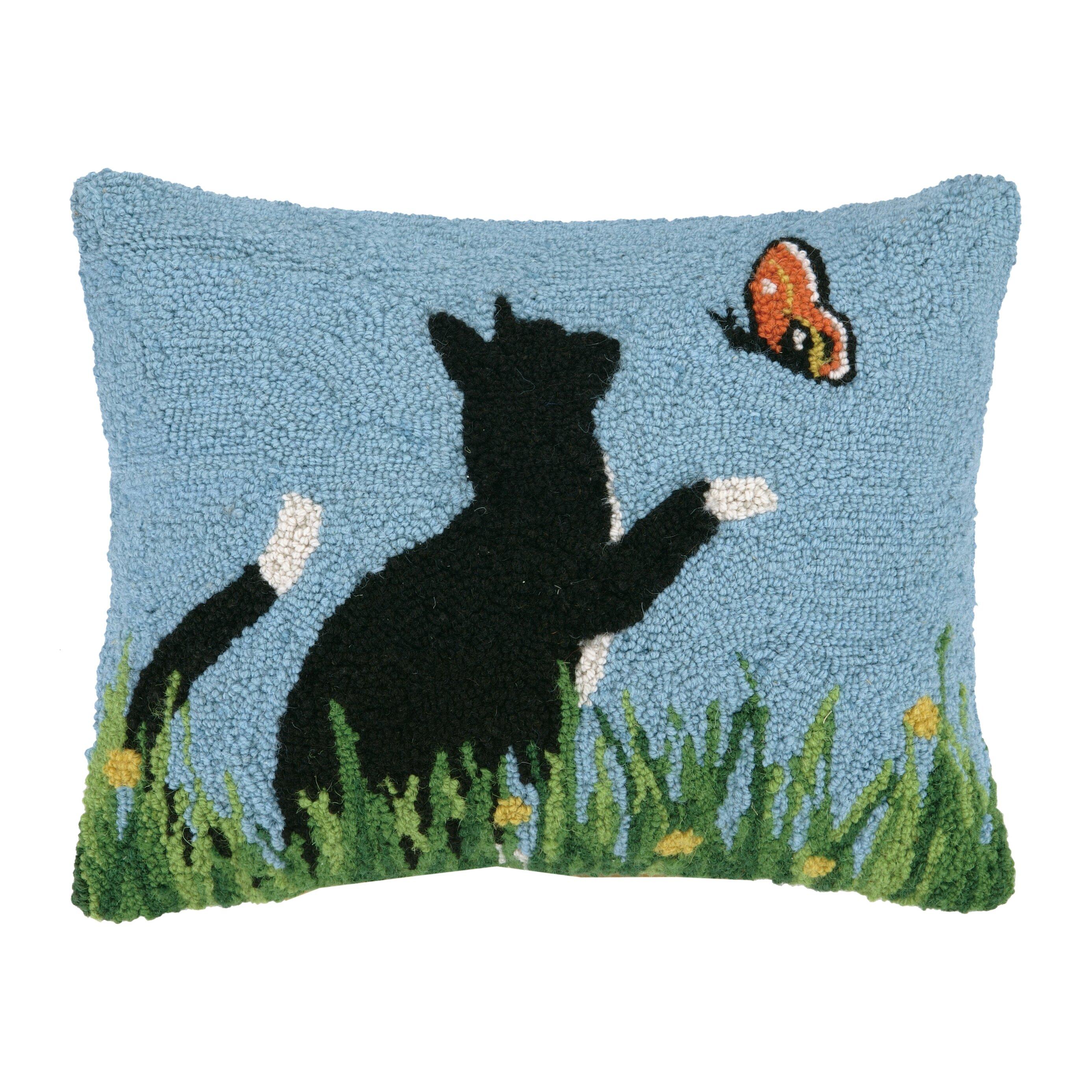 Black Cat And Butterfly Hook Wool Throw Pillow Wayfair