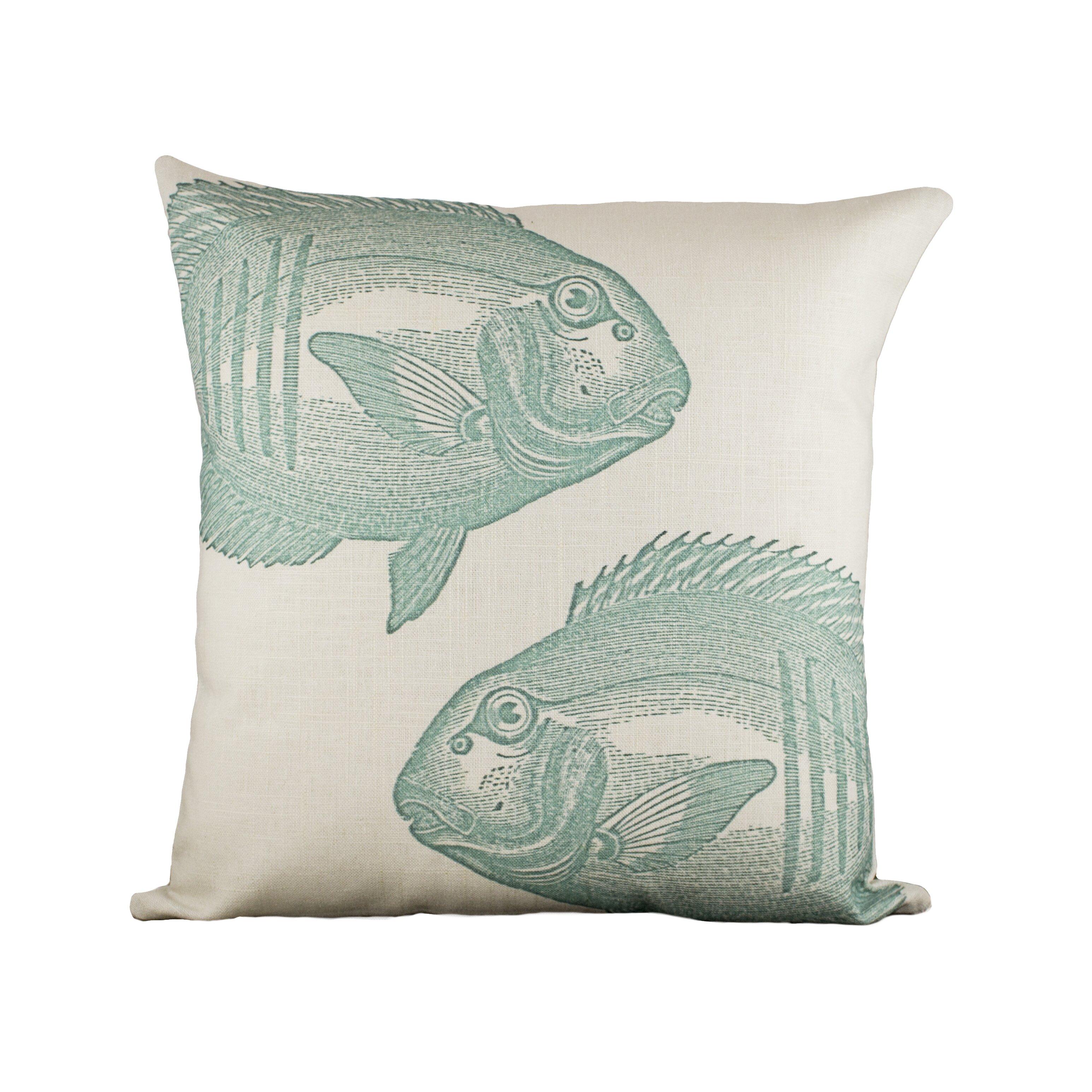 Passing fish cotton throw pillow wayfair for Fish throw pillows
