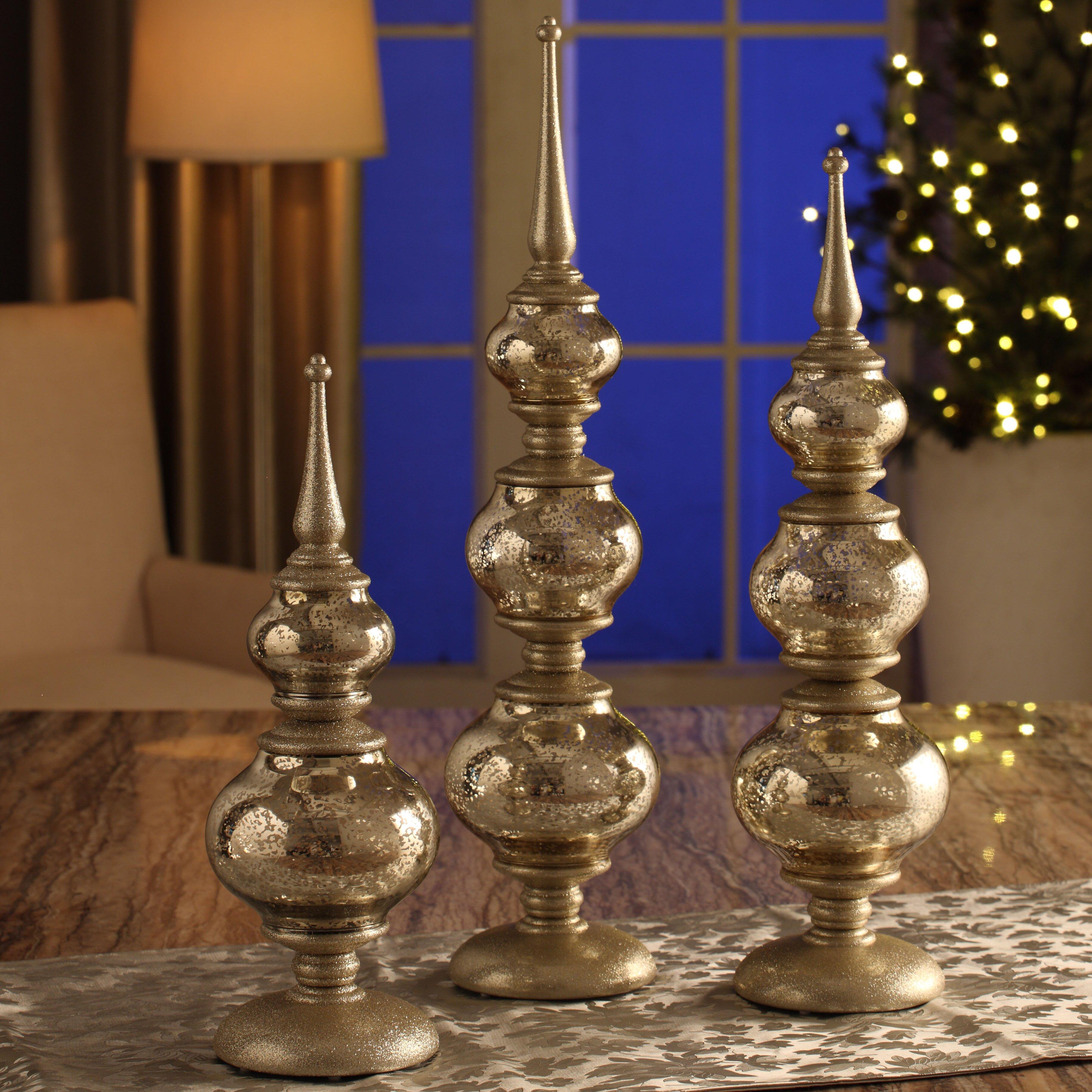 3 Piece Finial Ornament Set Wayfair