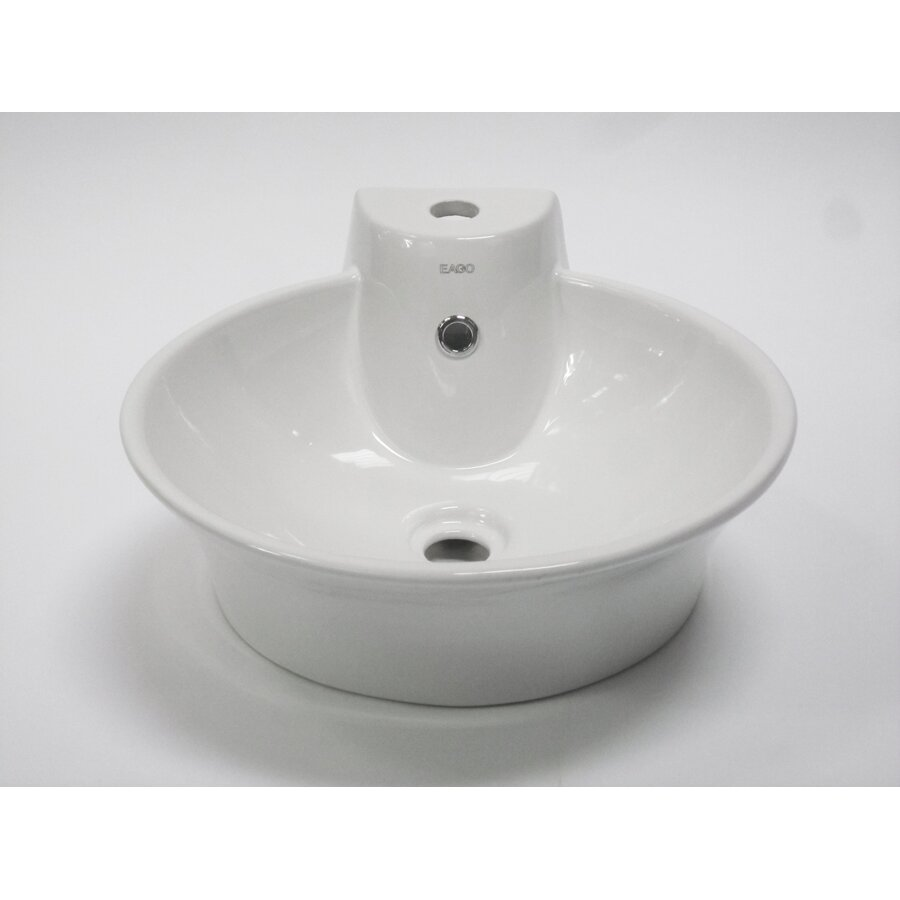 EAGO Above Mount Round Vessel Bathroom Sink with Single Faucet Hole ...