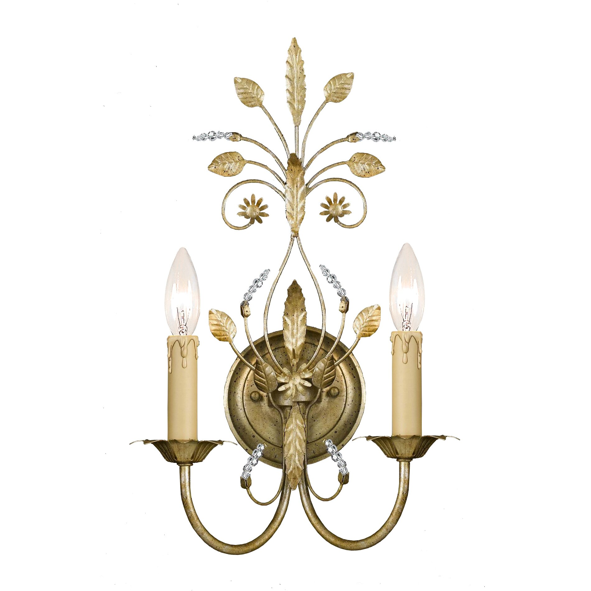 Primrose 2 Light Crystal Candle Wall Sconce Wayfair