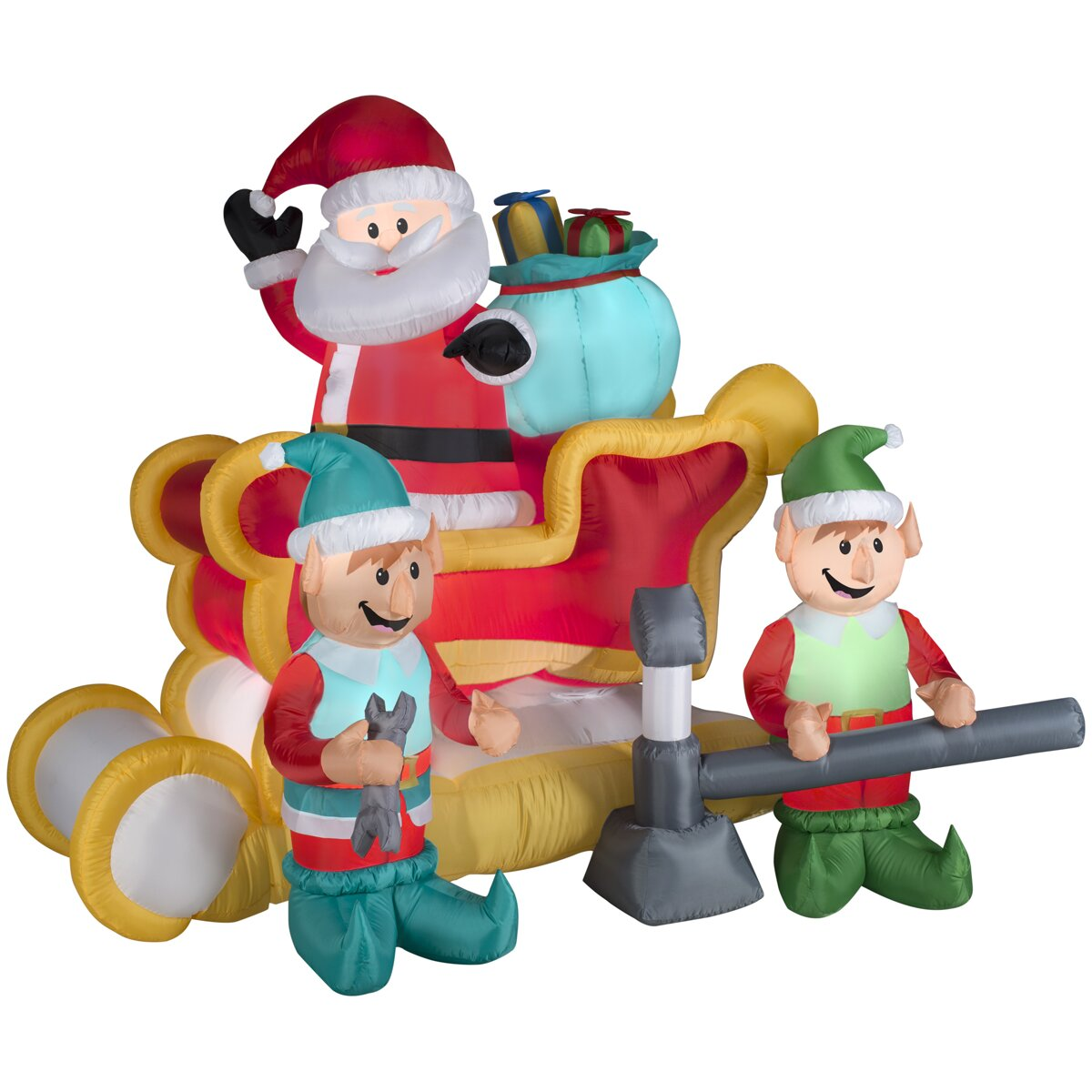 Airblown inflatables christmas animated santa with sleigh