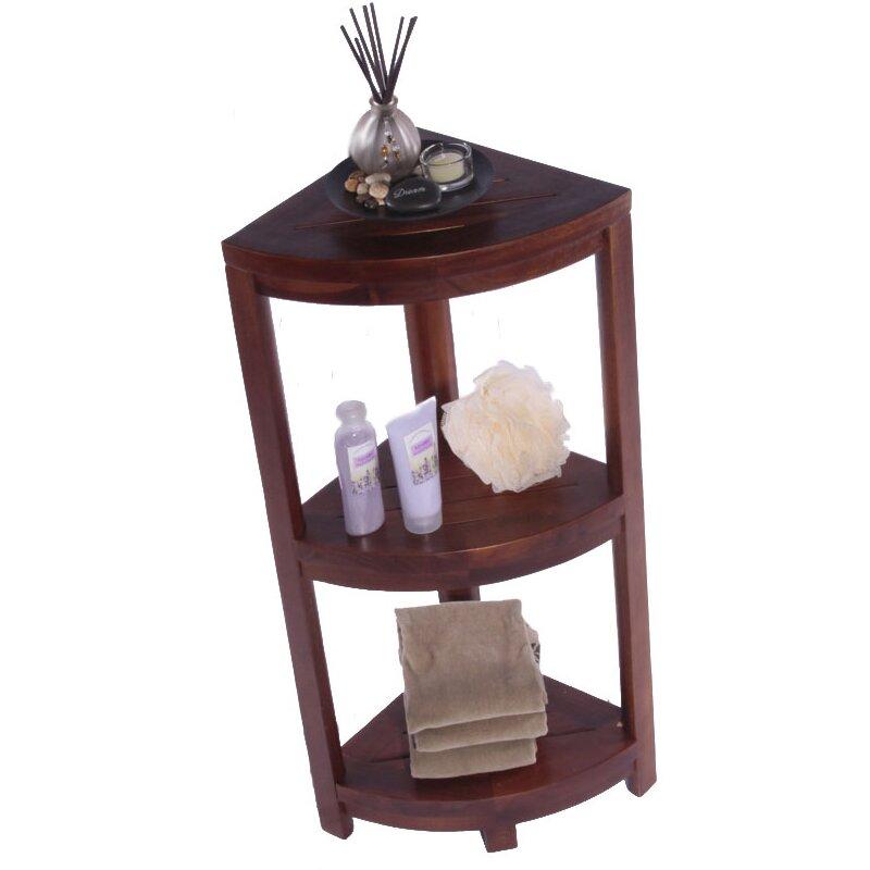 teak corner stand shelf unit 1